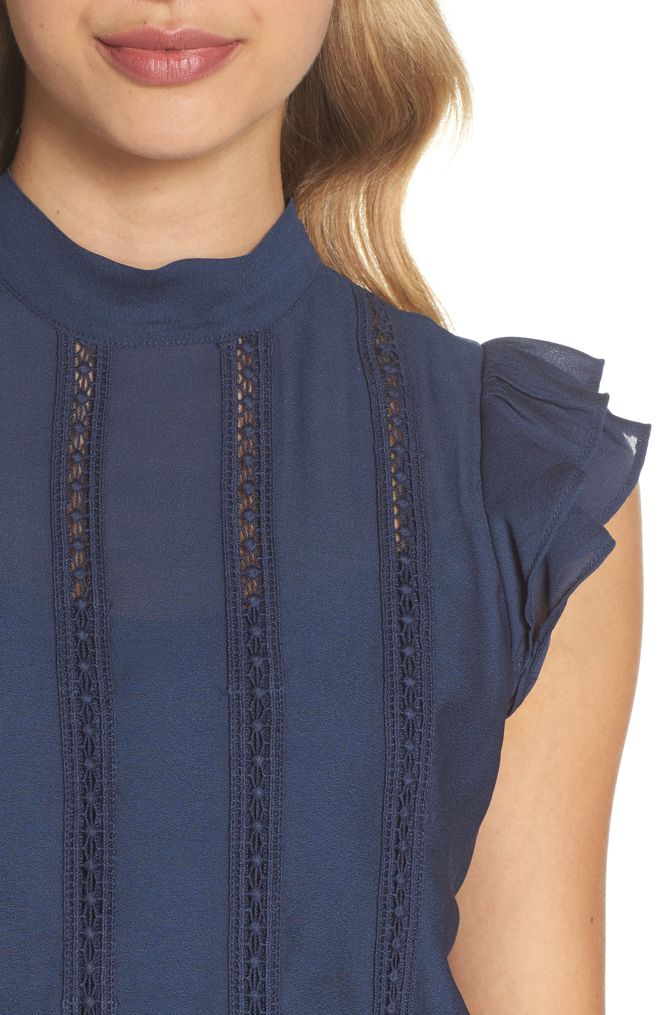 Embroidered Bodice A-Line Dress,                             Alternate thumbnail 4, color,                             Teal Moroccan