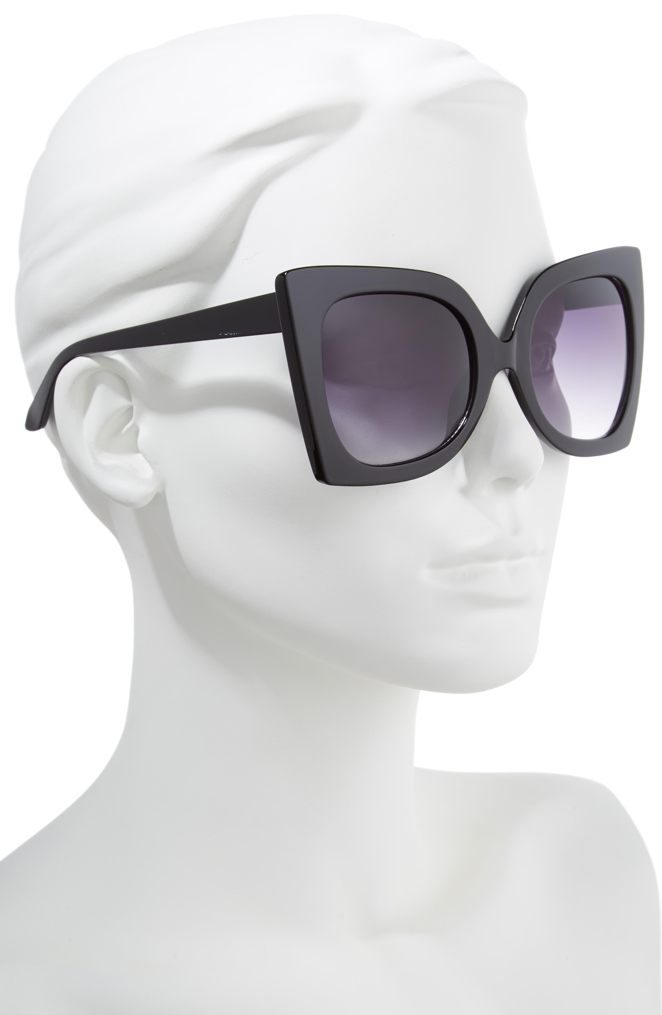 56mm Exaggerated Square Sunglasses,                             Alternate thumbnail 2, color,                             Black