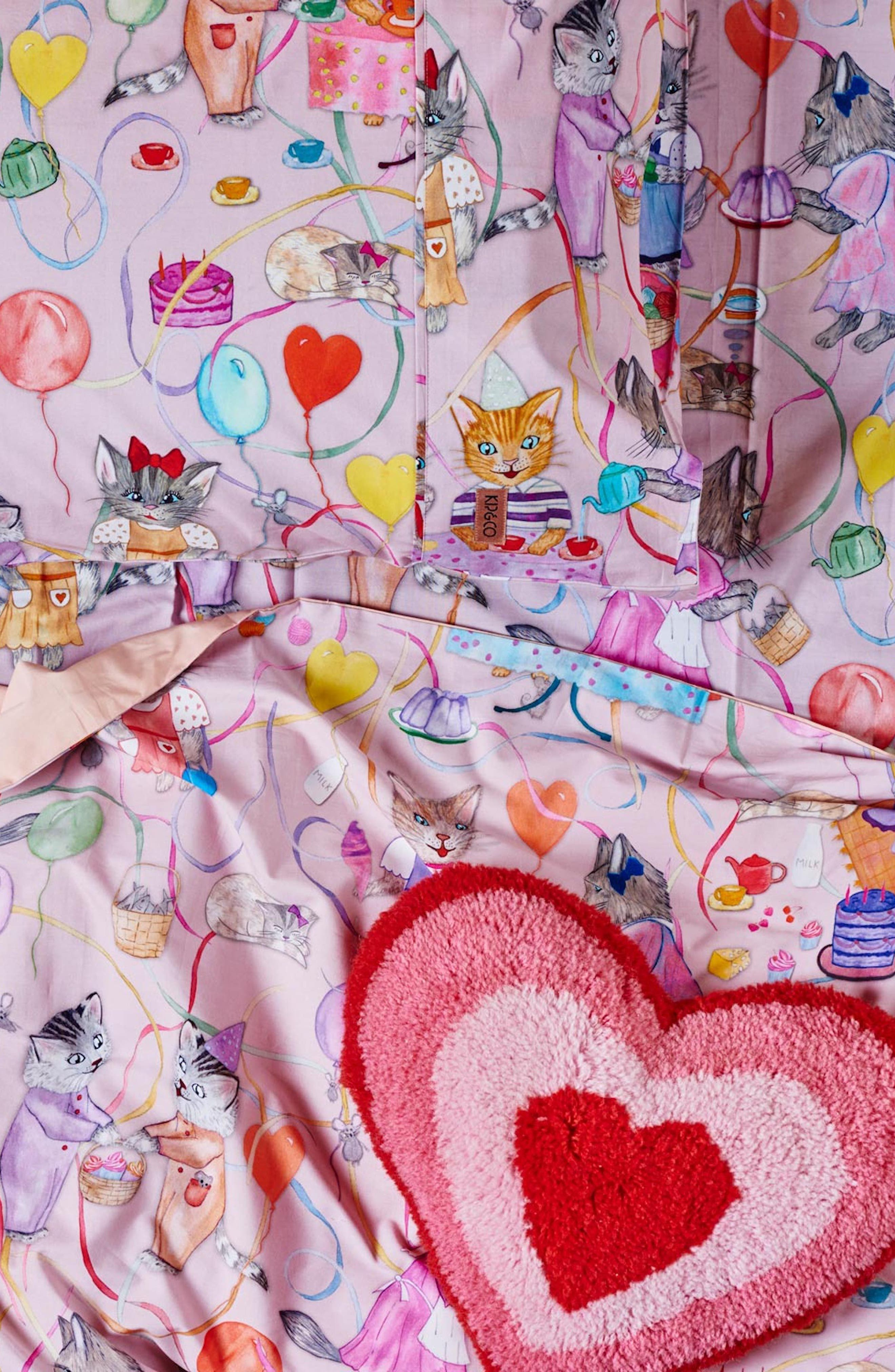 The Kitty Party Cotton Duvet Cover,                             Alternate thumbnail 2, color,                             Multi