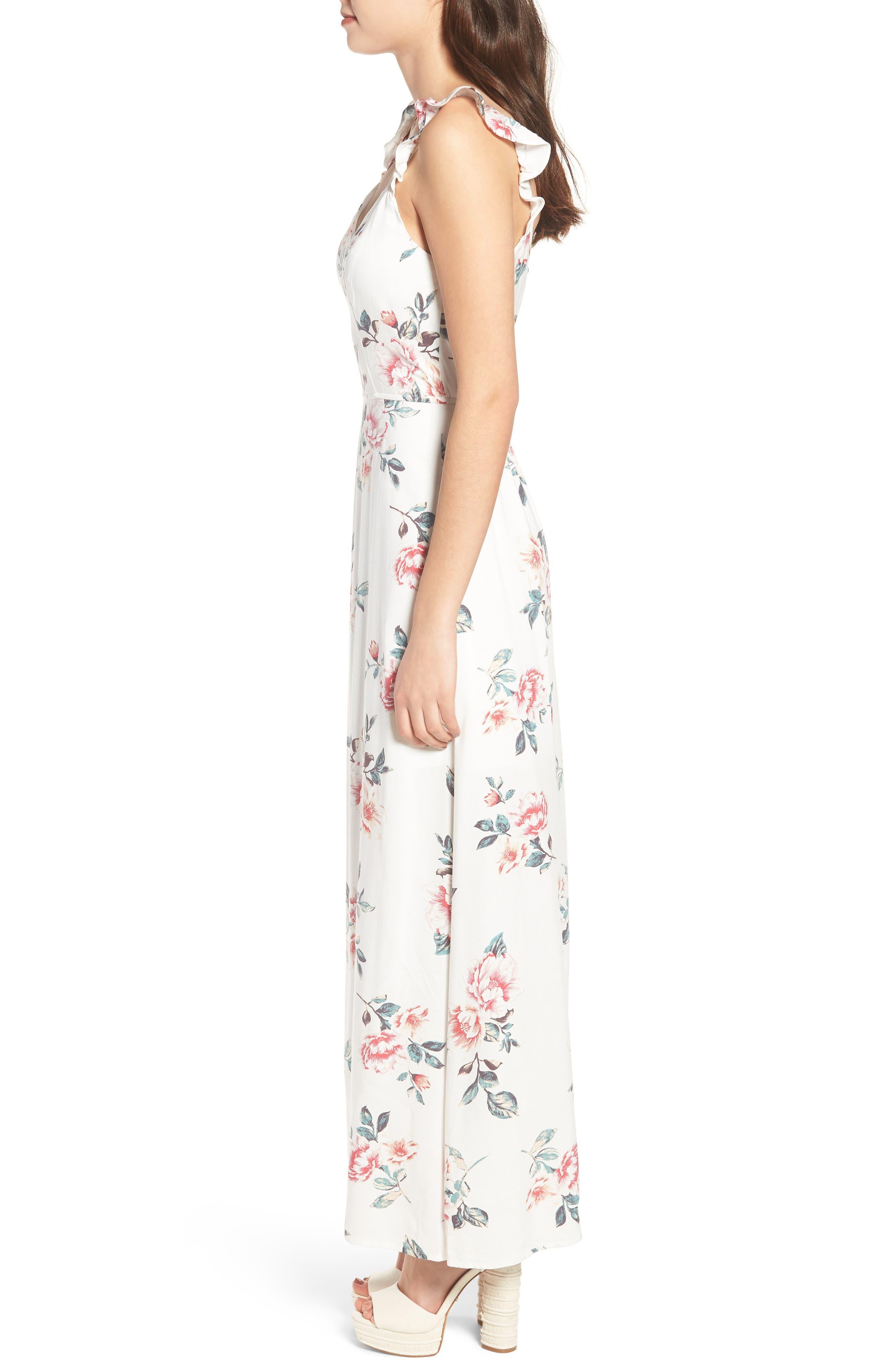 Flutter Sleeve Maxi Dress,                             Alternate thumbnail 3, color,                             Ivory Floral