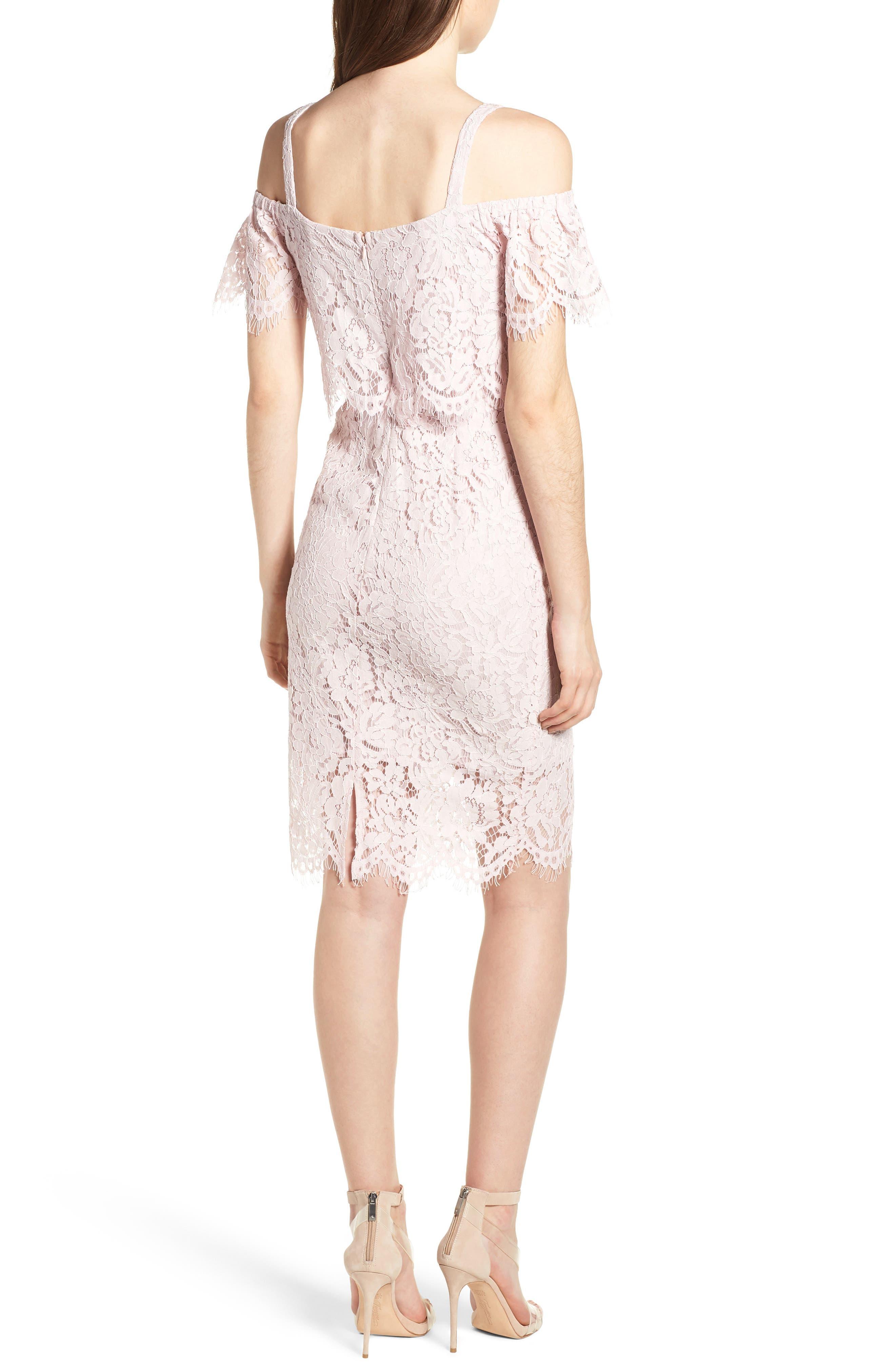 Popover Lace Dress,                             Alternate thumbnail 2, color,                             Pale Pink