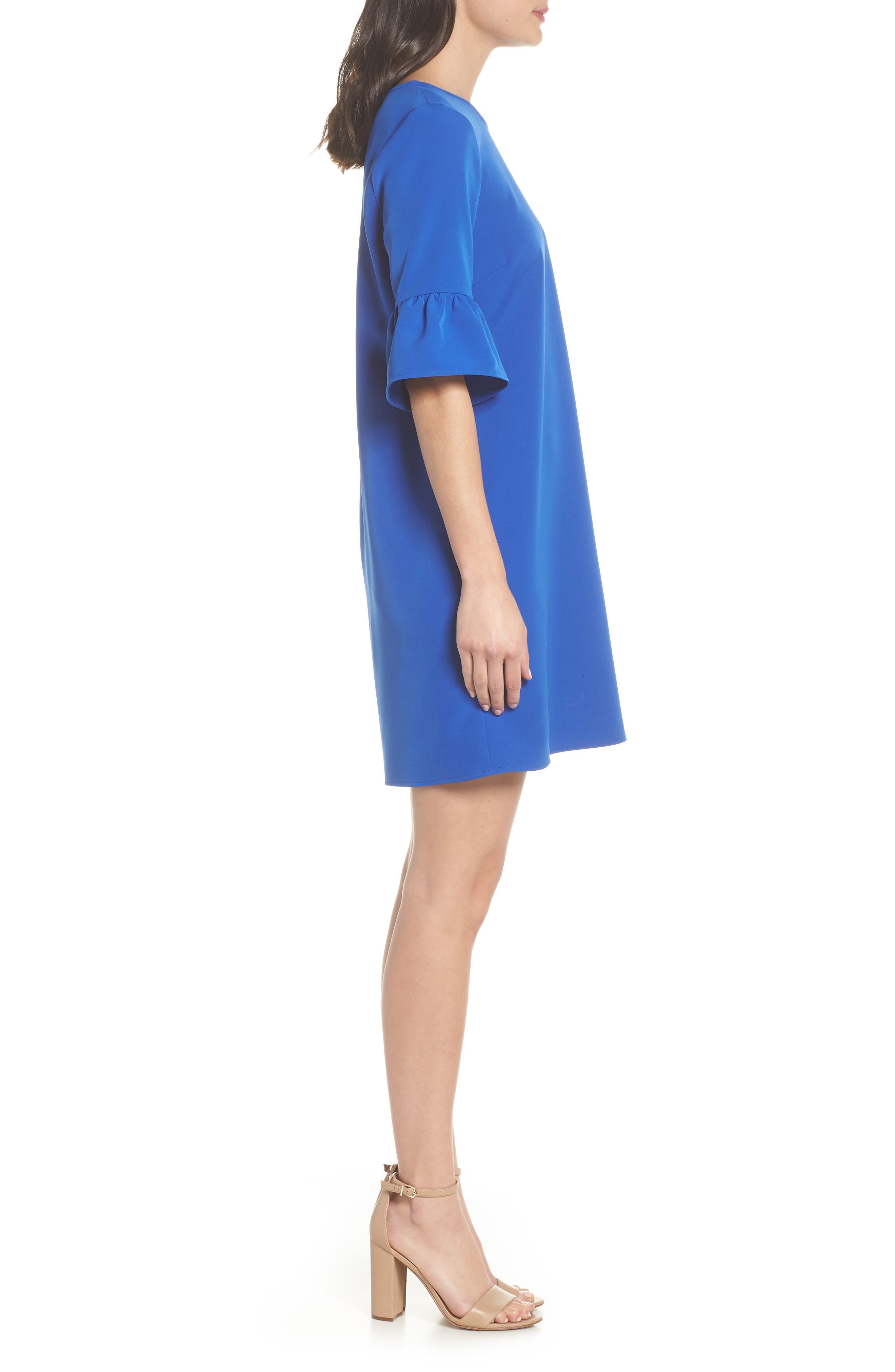 Bell Sleeve Shift Dress,                             Alternate thumbnail 3, color,                             Patriot Blue