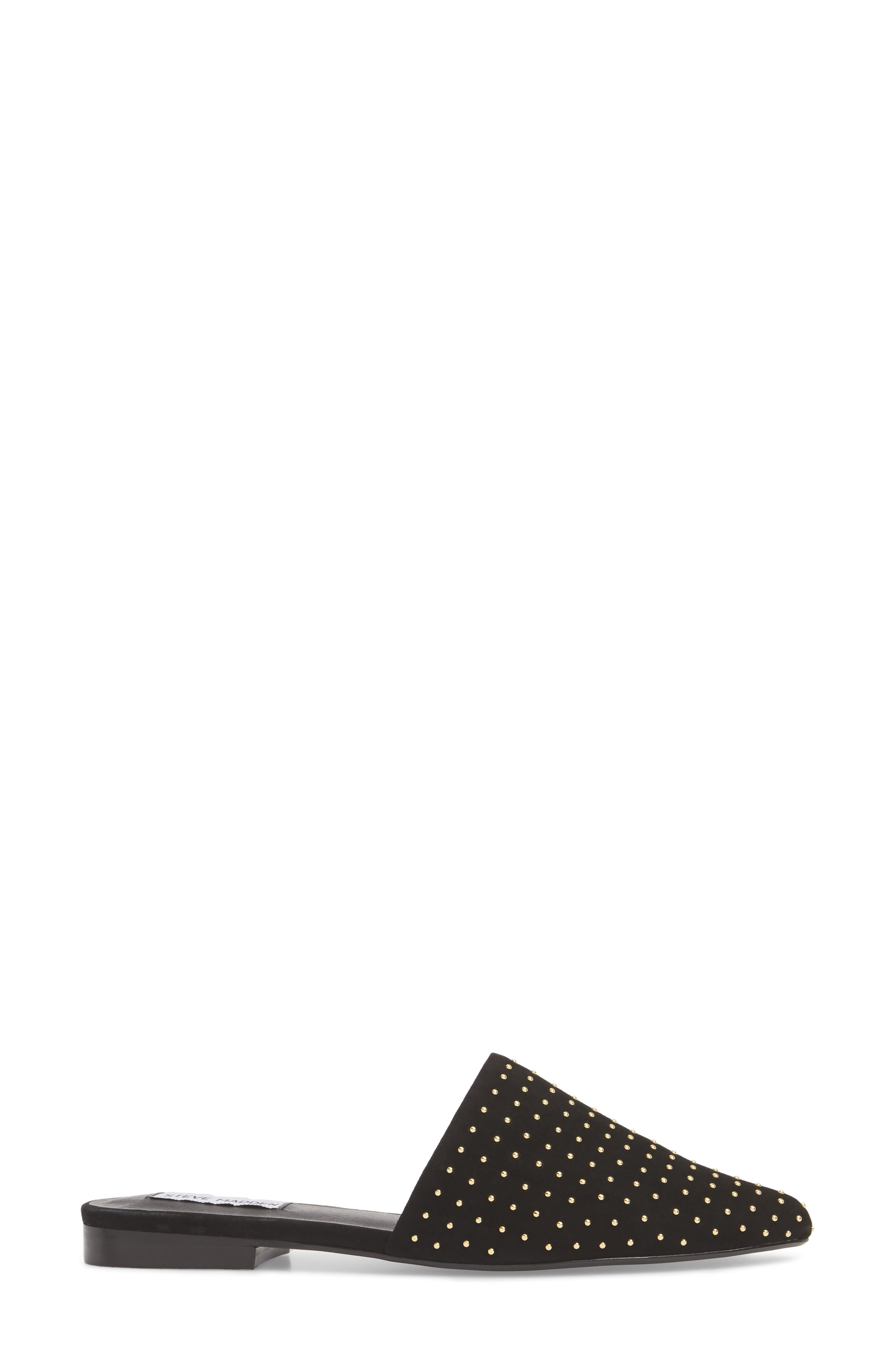 Trace Studded Mule,                             Alternate thumbnail 3, color,                             Black With Stud