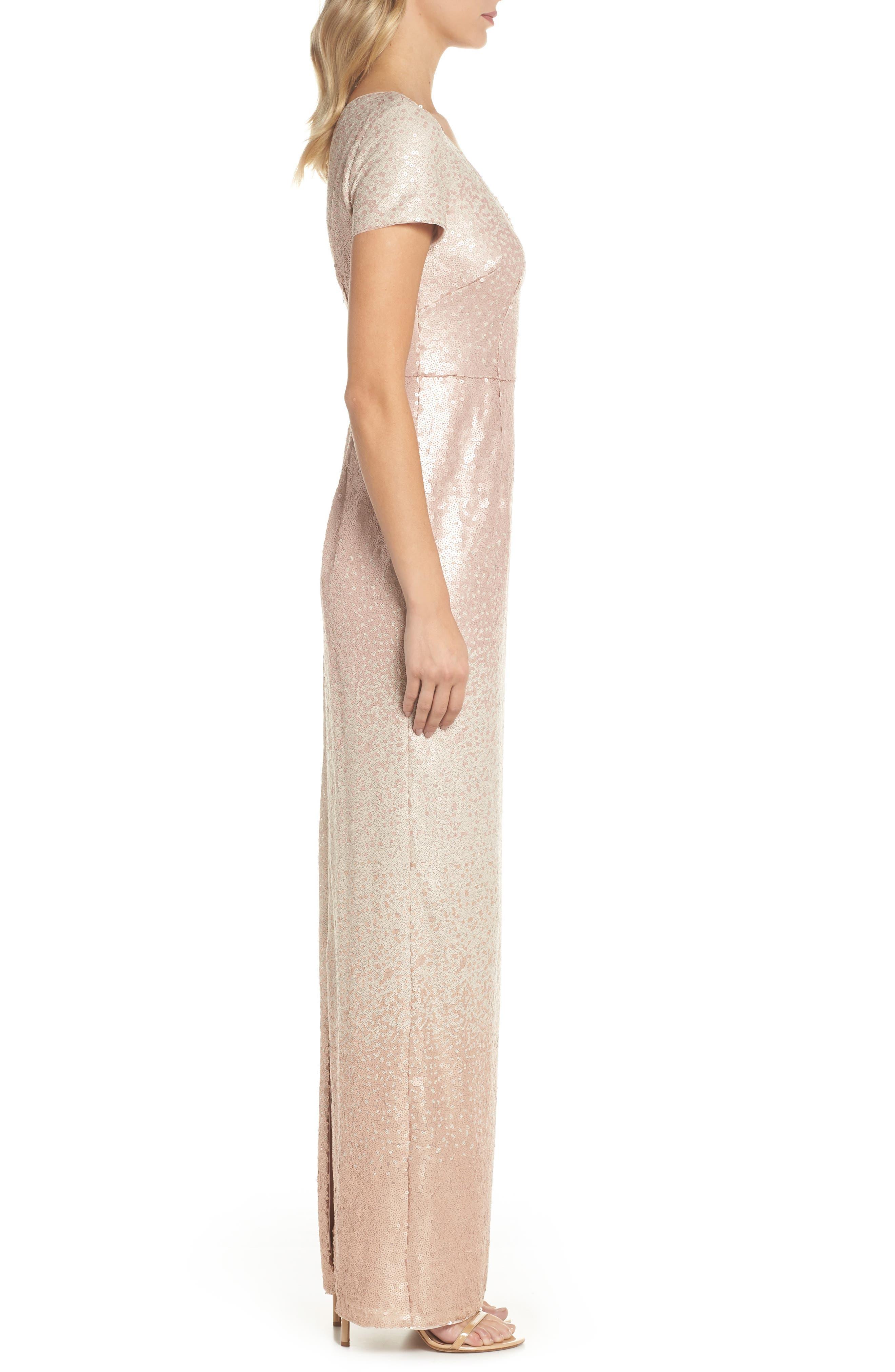Ombré Sequin Gown,                             Alternate thumbnail 3, color,                             Blush Multi