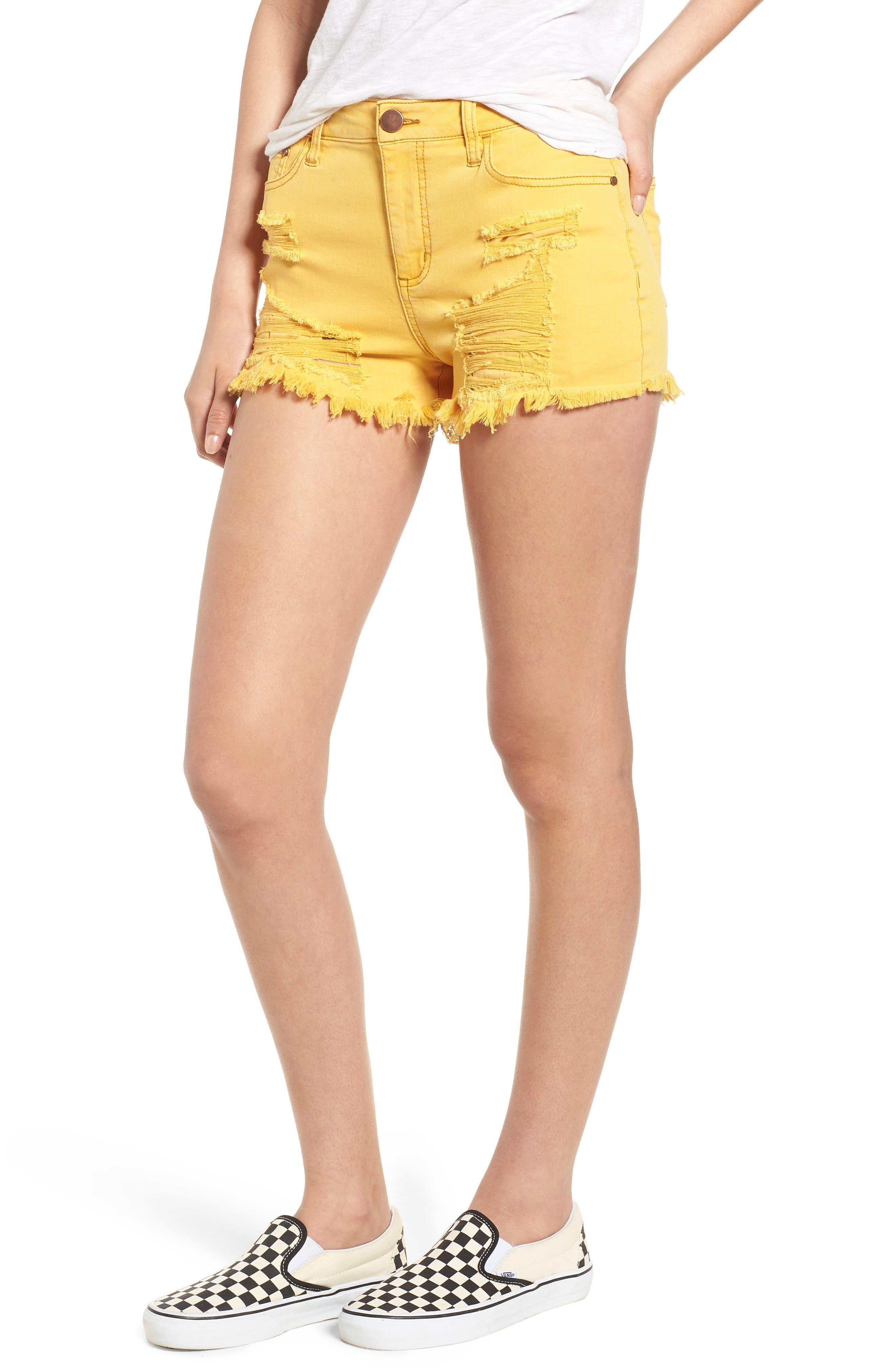 Decon Ripped Denim Shorts,                             Main thumbnail 1, color,                             Marigold