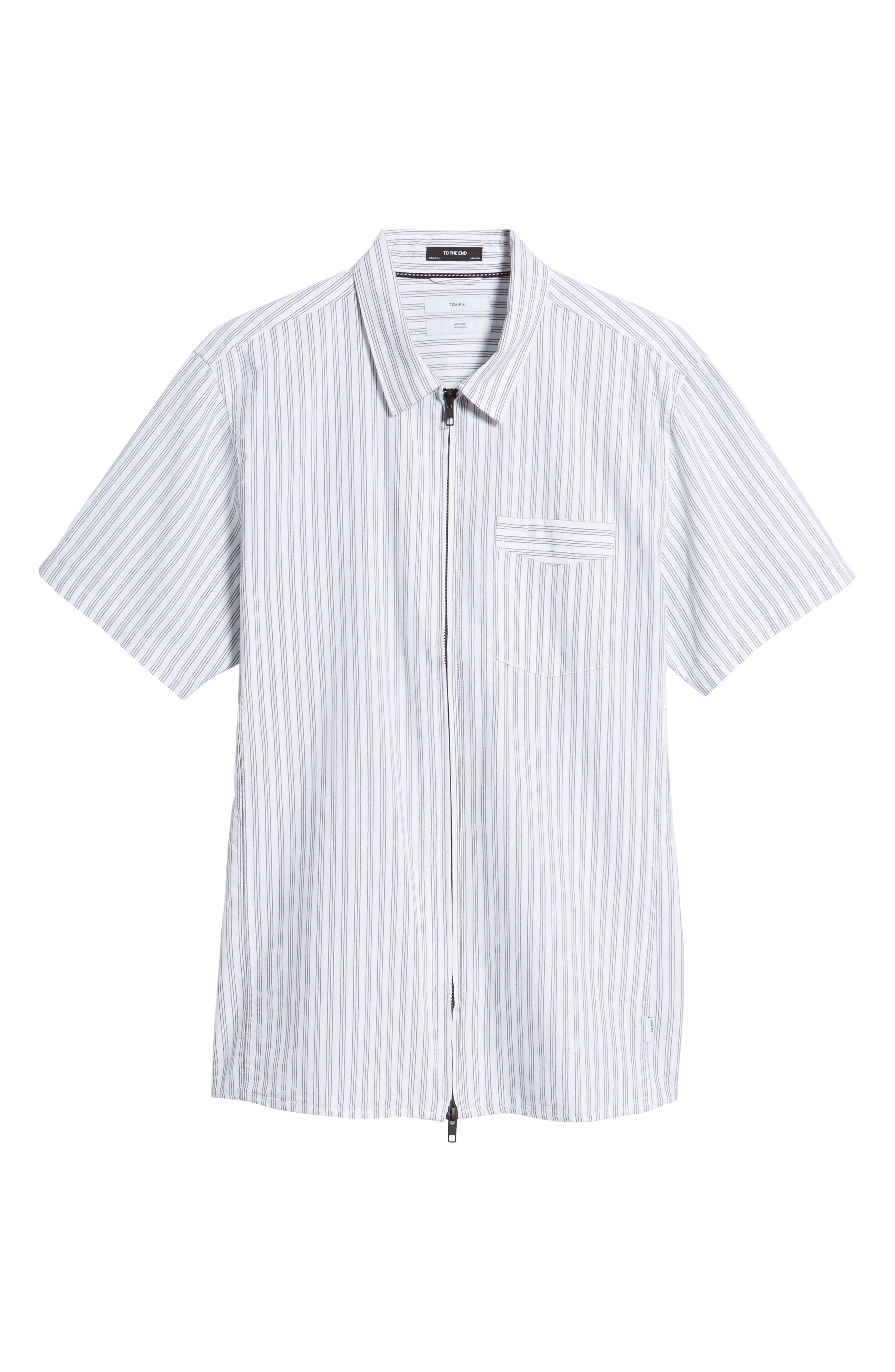 Rollins Woven Shirt,                             Alternate thumbnail 6, color,                             Black/White Stripe