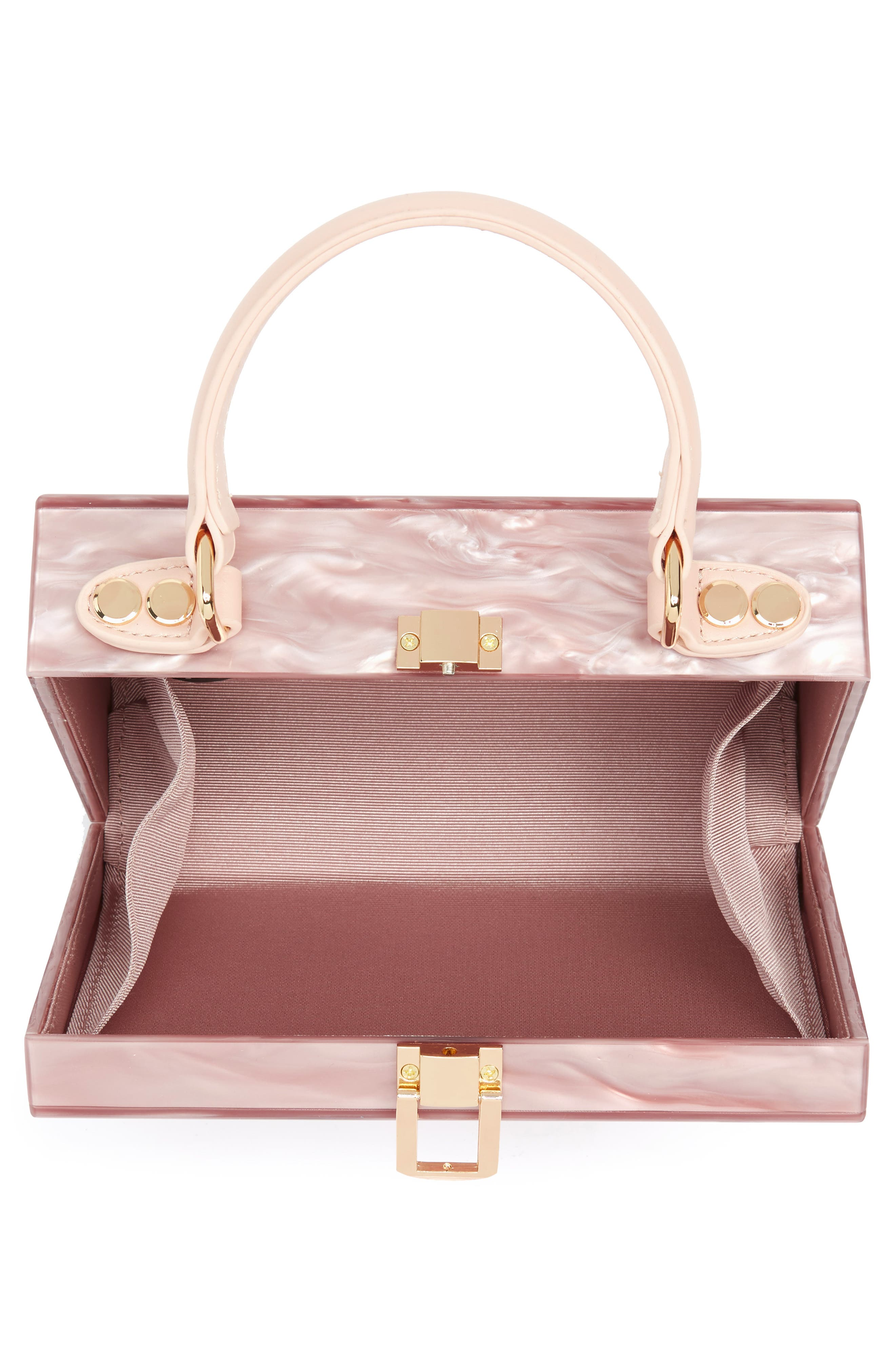 Clara Top Handle Box Clutch,                             Alternate thumbnail 4, color,                             Pink