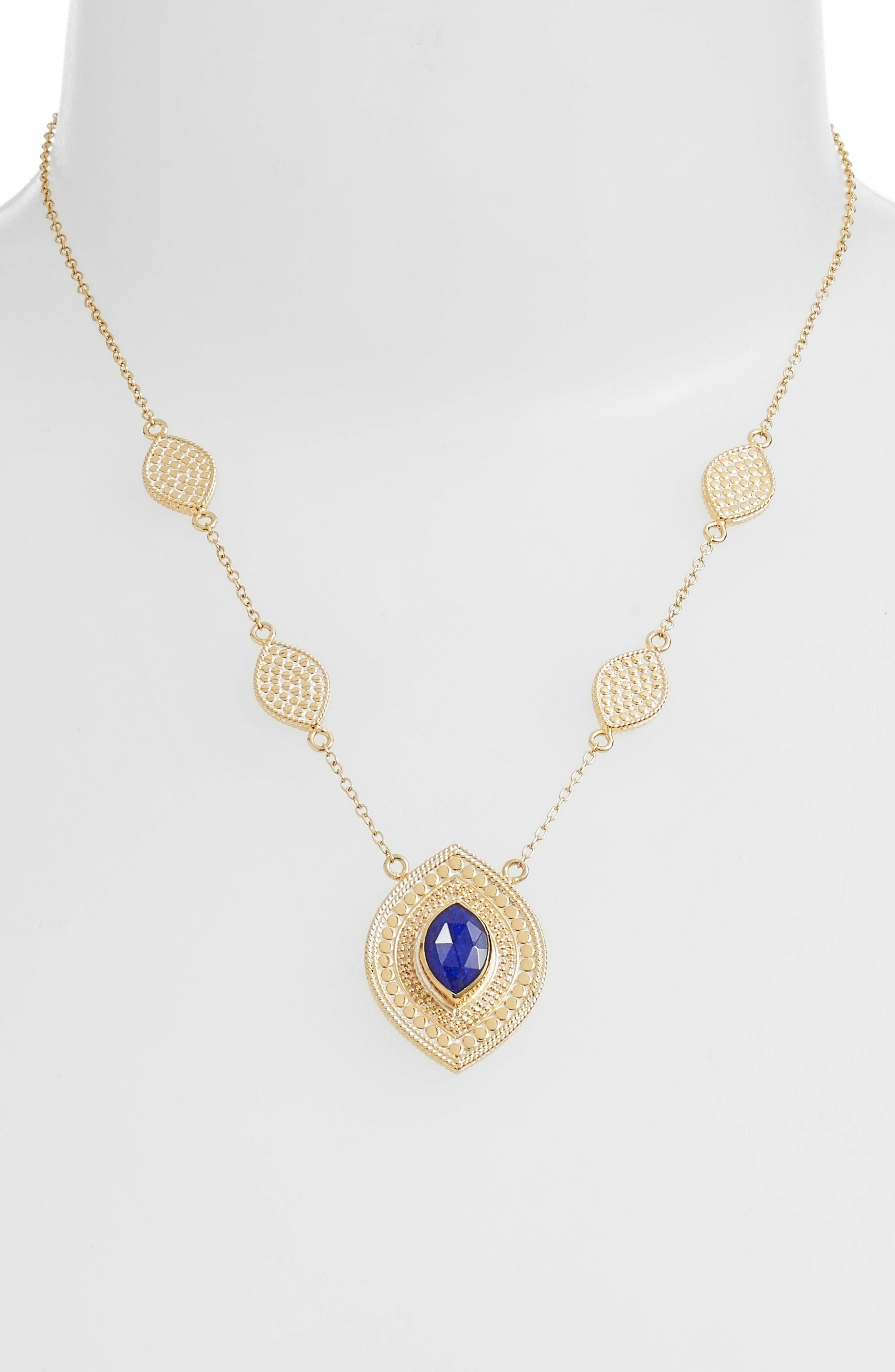 Double Lapis Pendant Station Necklace,                         Main,                         color, Gold/ Lapis
