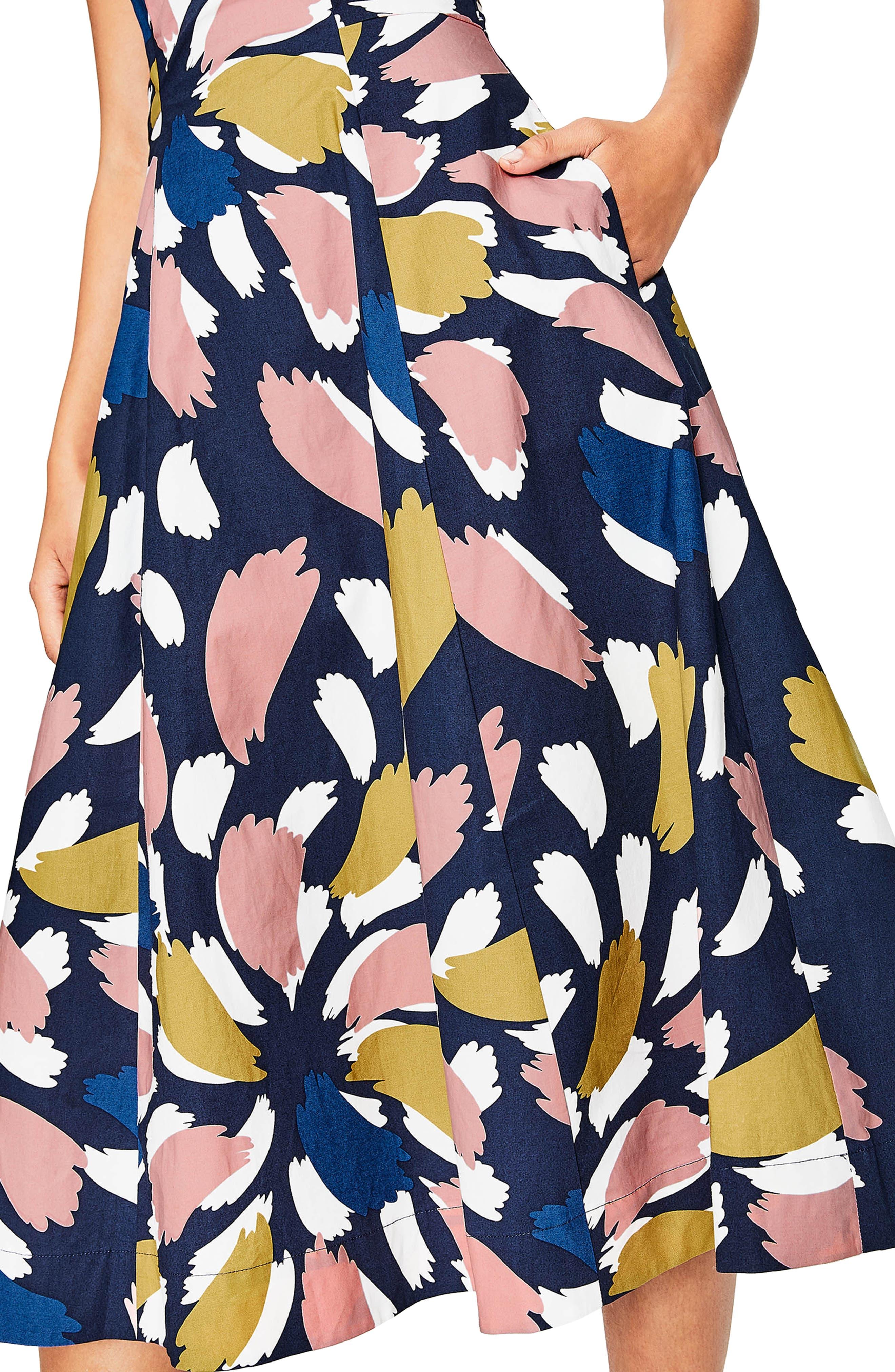 Elena Fit & Flare Cotton Dress,                             Alternate thumbnail 3, color,                             Navy Brush Stroke