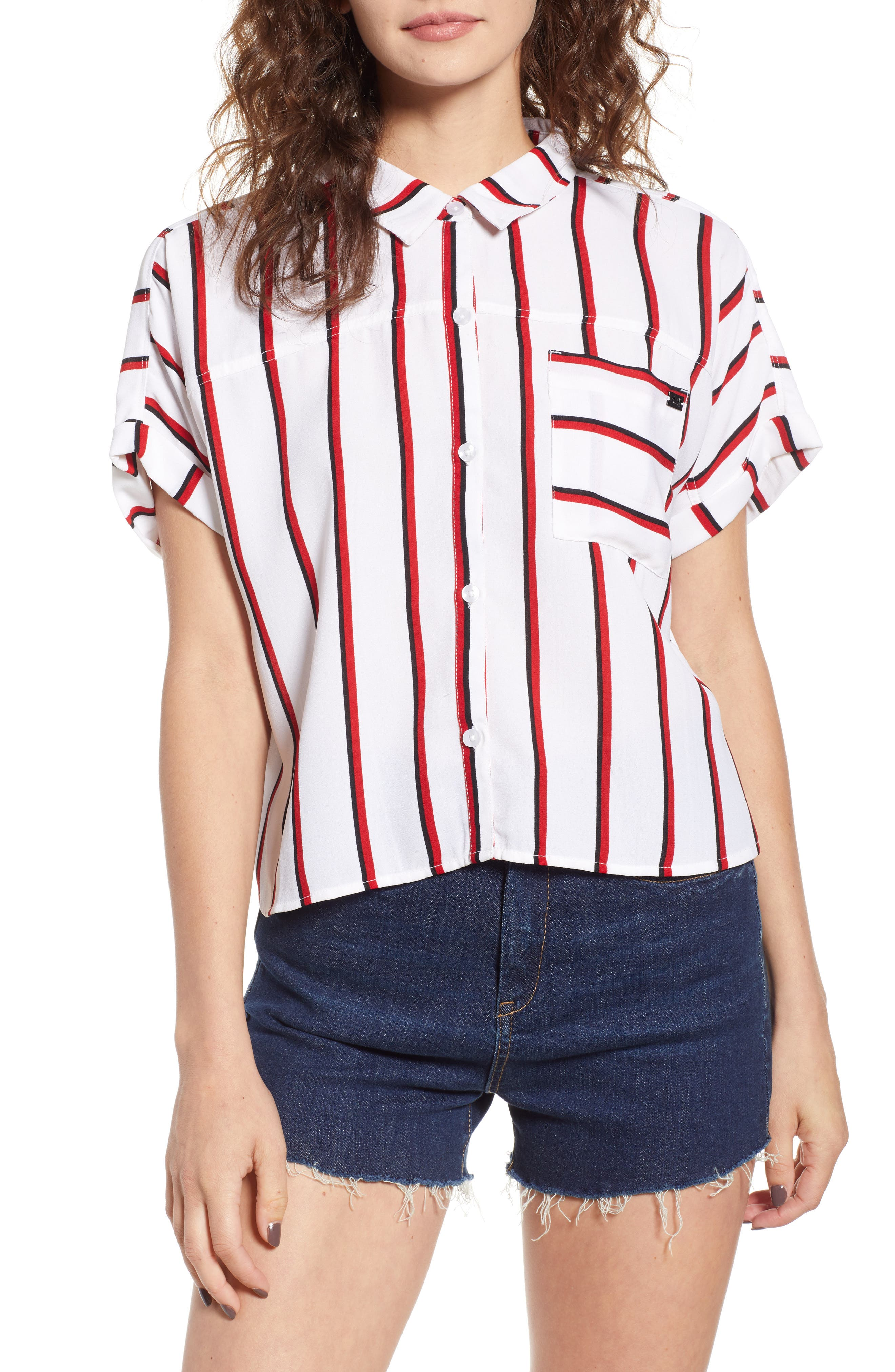 Counting Moons Stripe Top,                         Main,                         color, Chili Red