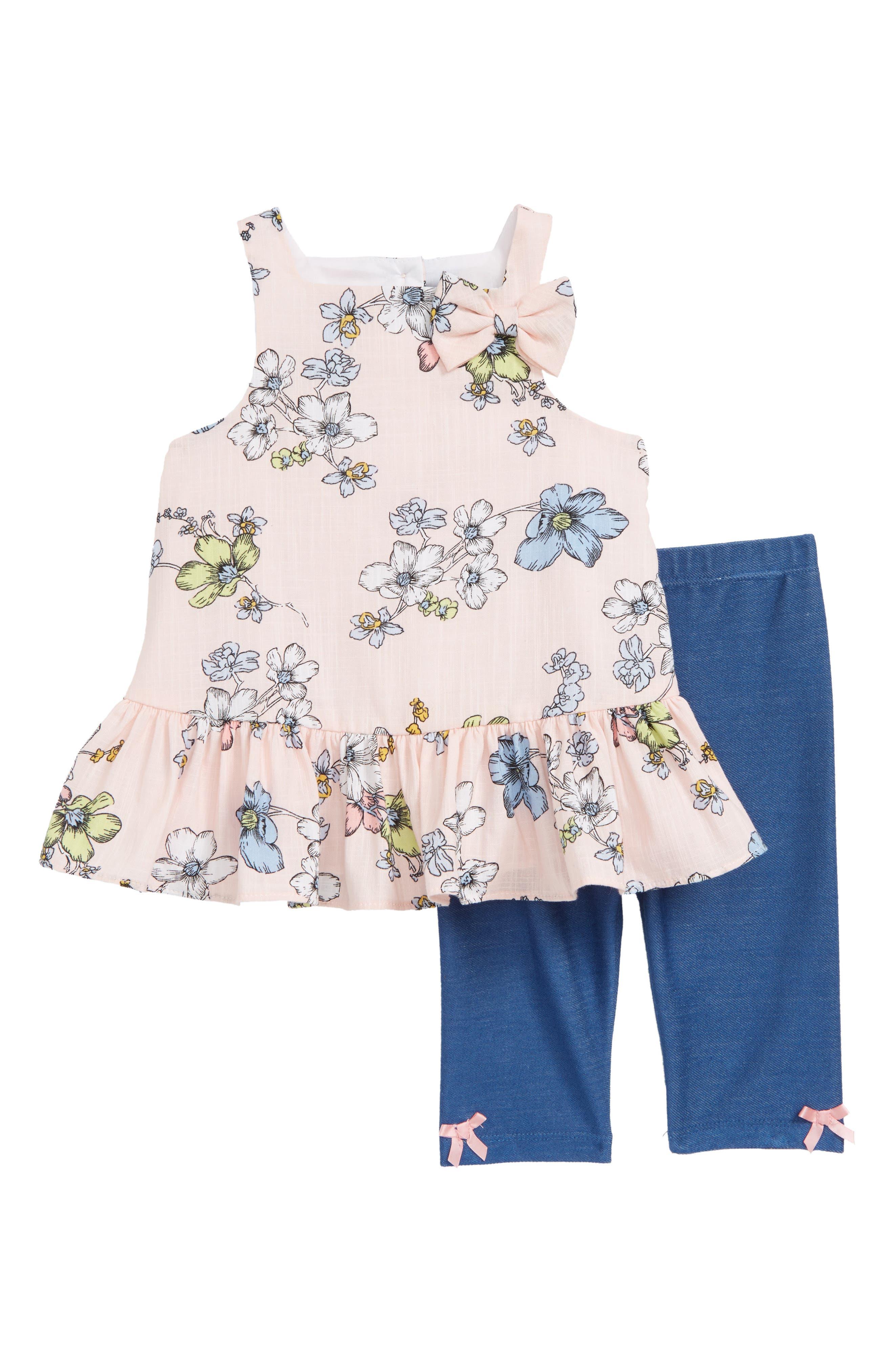 Floral Dress & Capri Leggings Set,                         Main,                         color, Pink