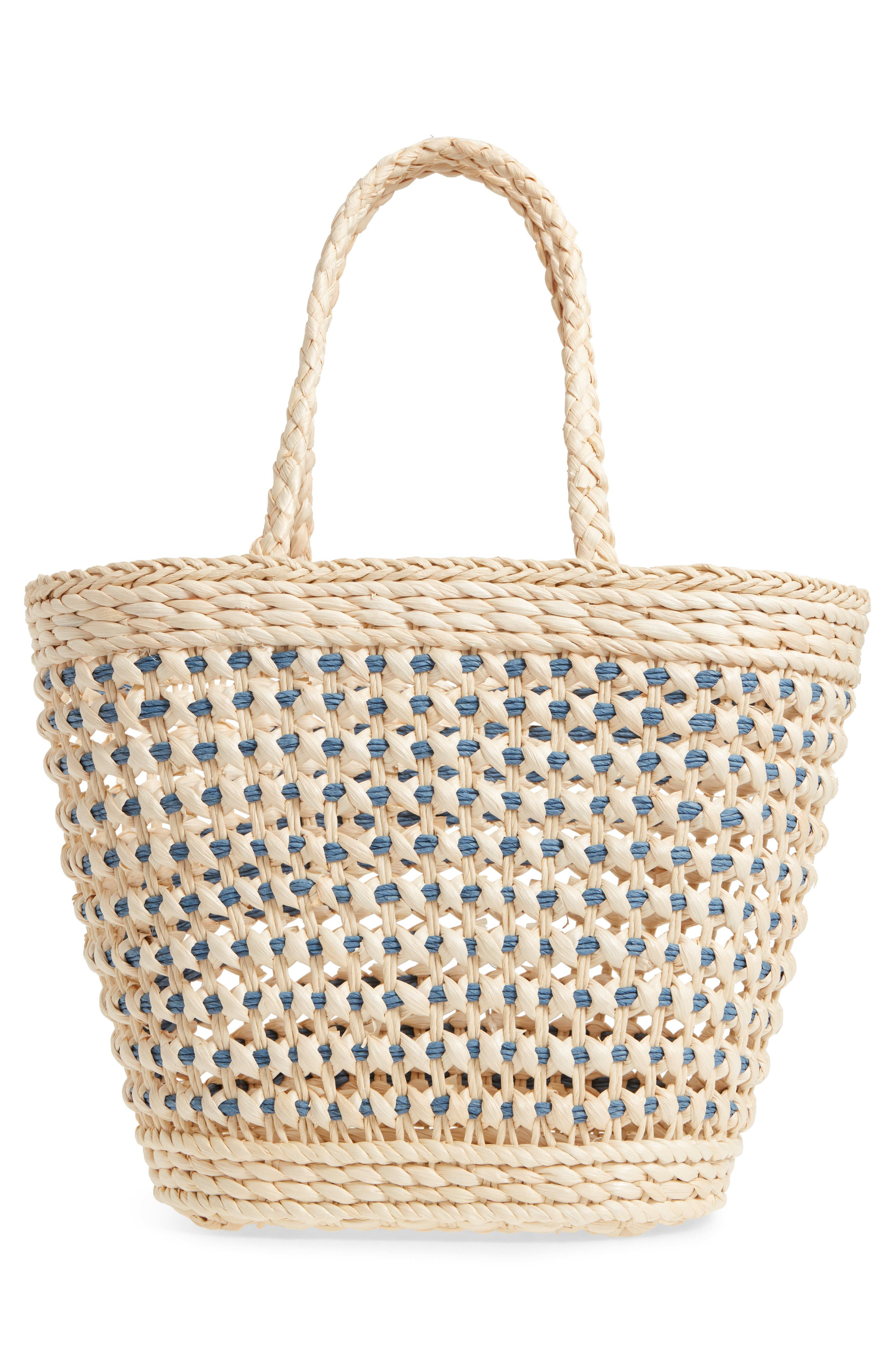 Woven Straw Tote,                             Alternate thumbnail 5, color,                             Nautral/Blue
