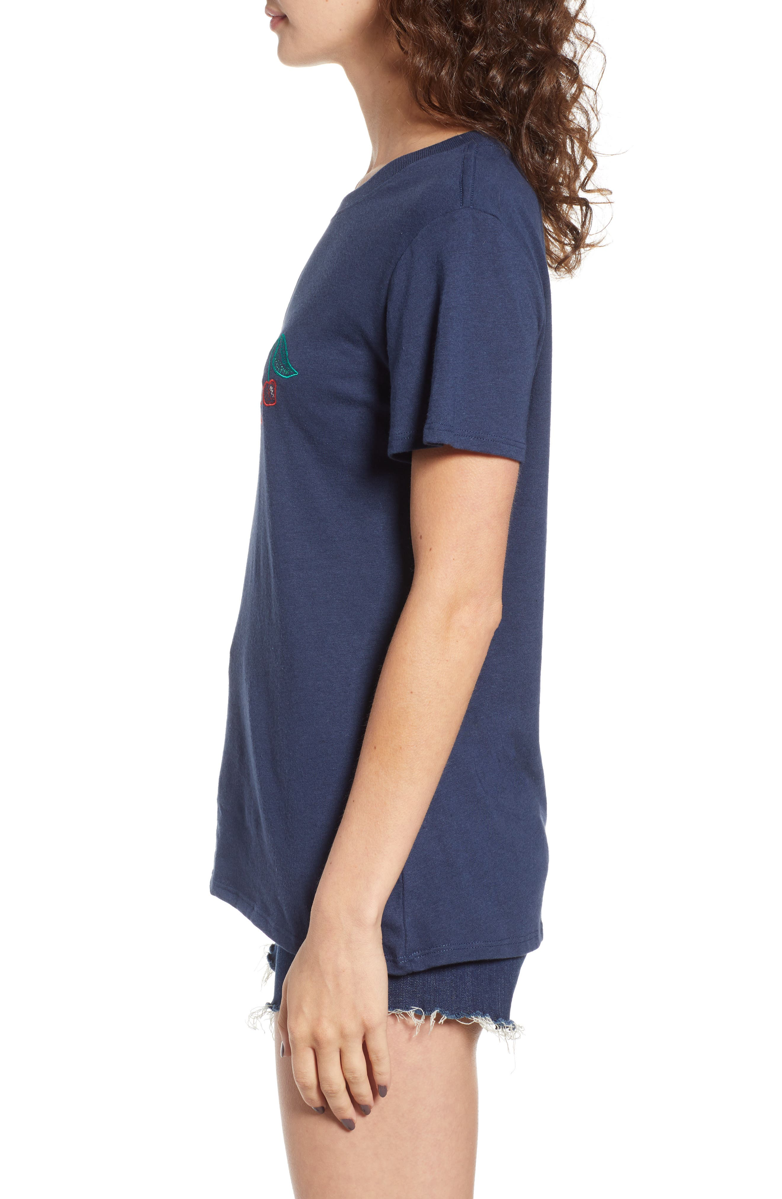 Cherry Slouched Tee,                             Alternate thumbnail 3, color,                             Navy