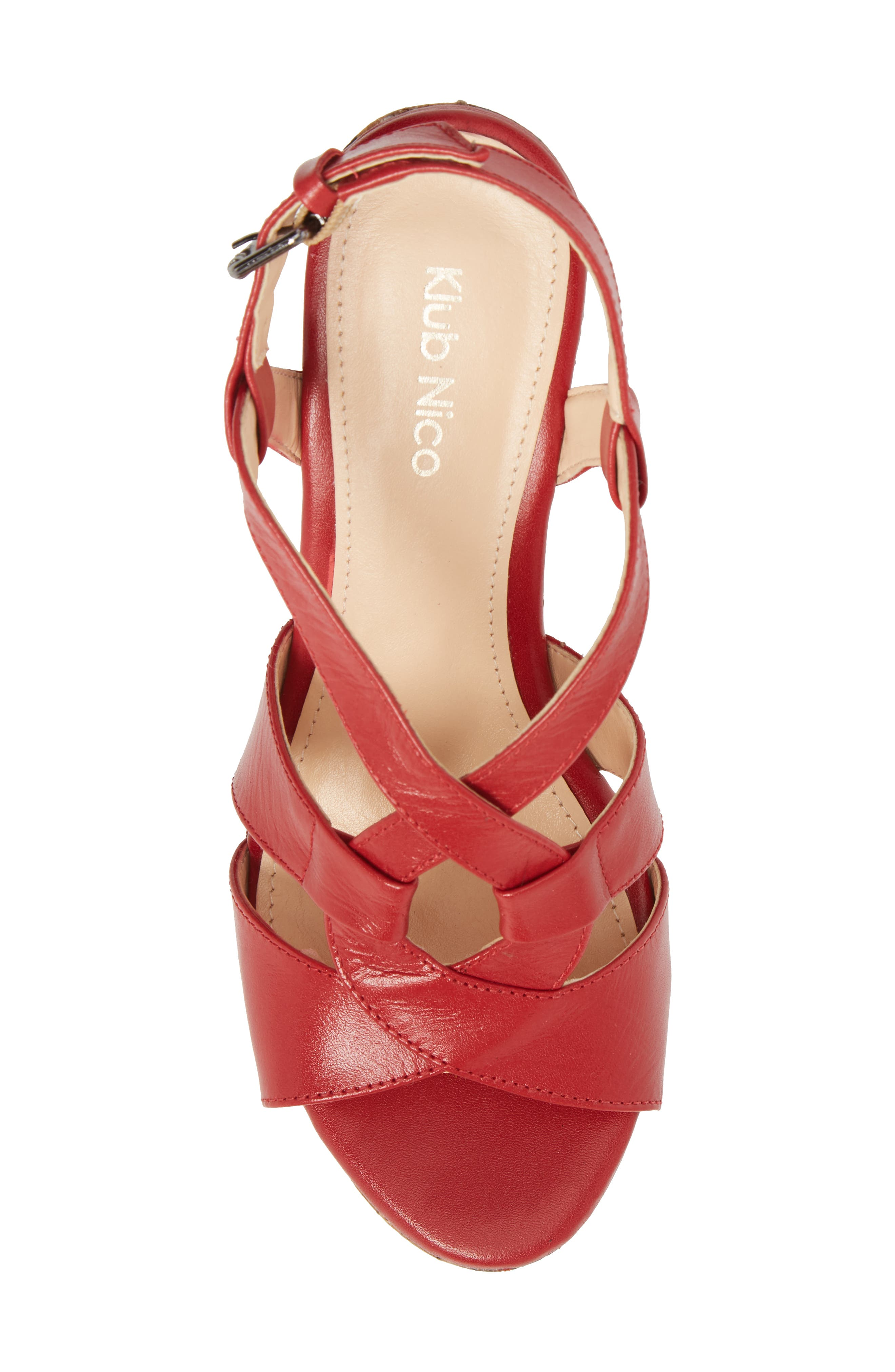 Victoria Platform Sandal,                             Alternate thumbnail 5, color,                             Red Leather