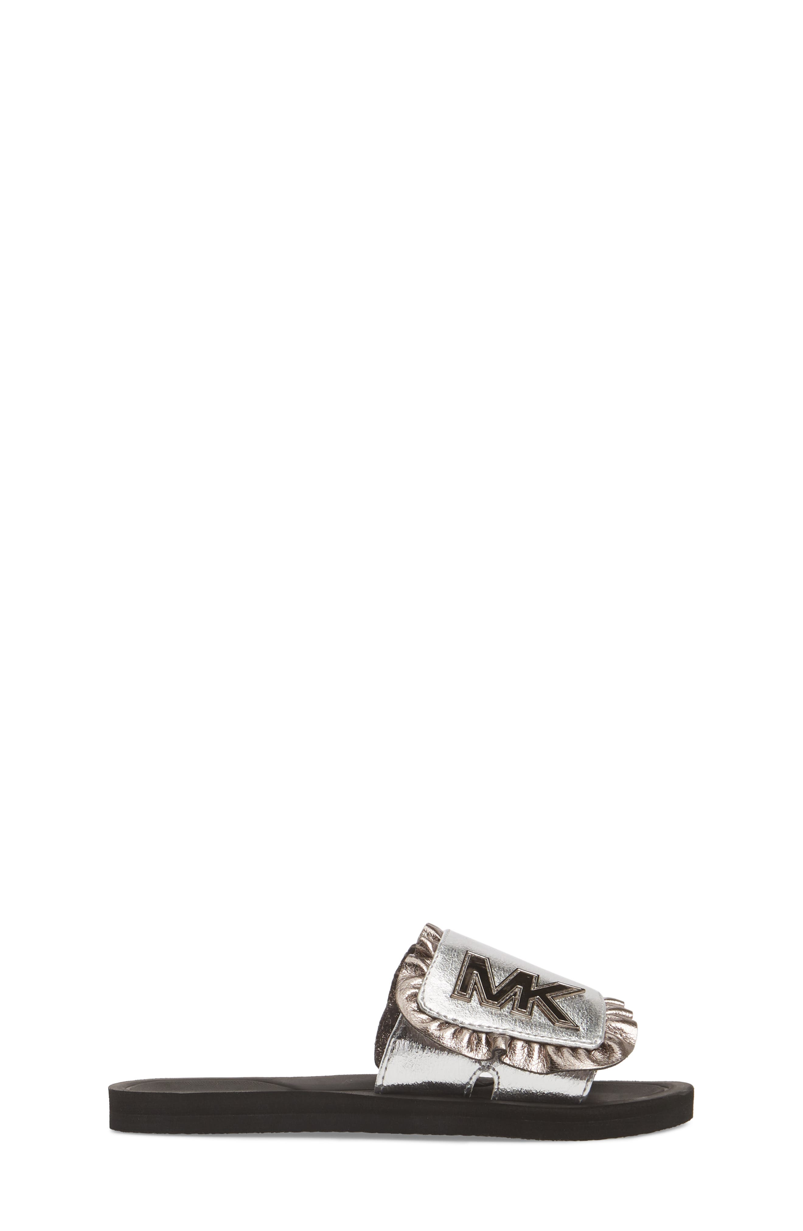Eli Jack Metallic Slide Sandal,                             Alternate thumbnail 3, color,                             Silver