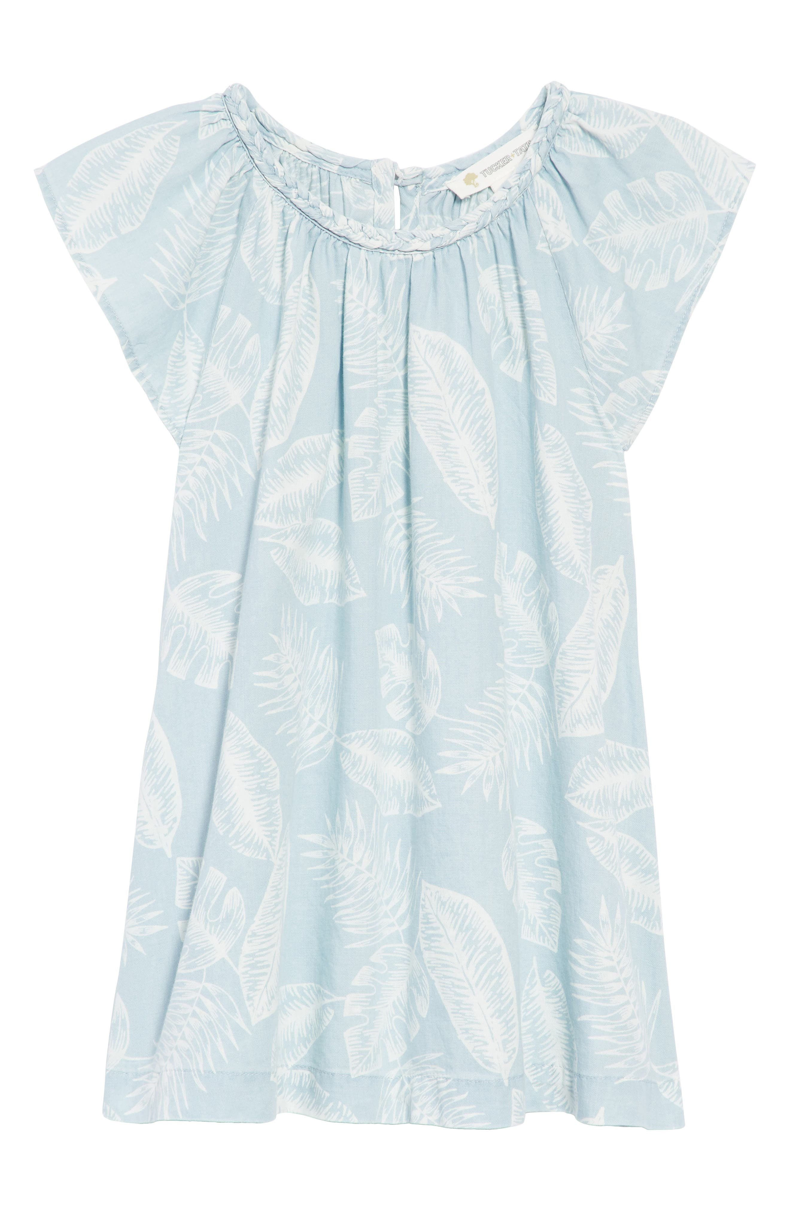 Palm Leaf Chambray Dress,                             Main thumbnail 1, color,                             Blue Thread Large Palms