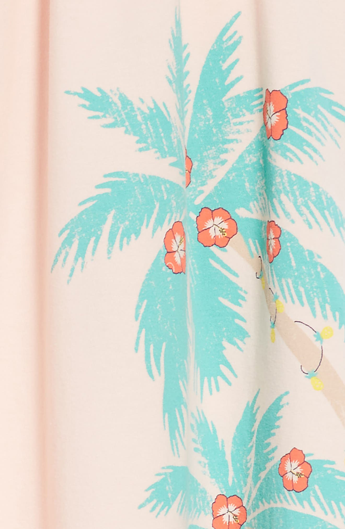 Palm Trees Graphic Swing Dress,                             Alternate thumbnail 3, color,                             Pink Chintz Palm Trees