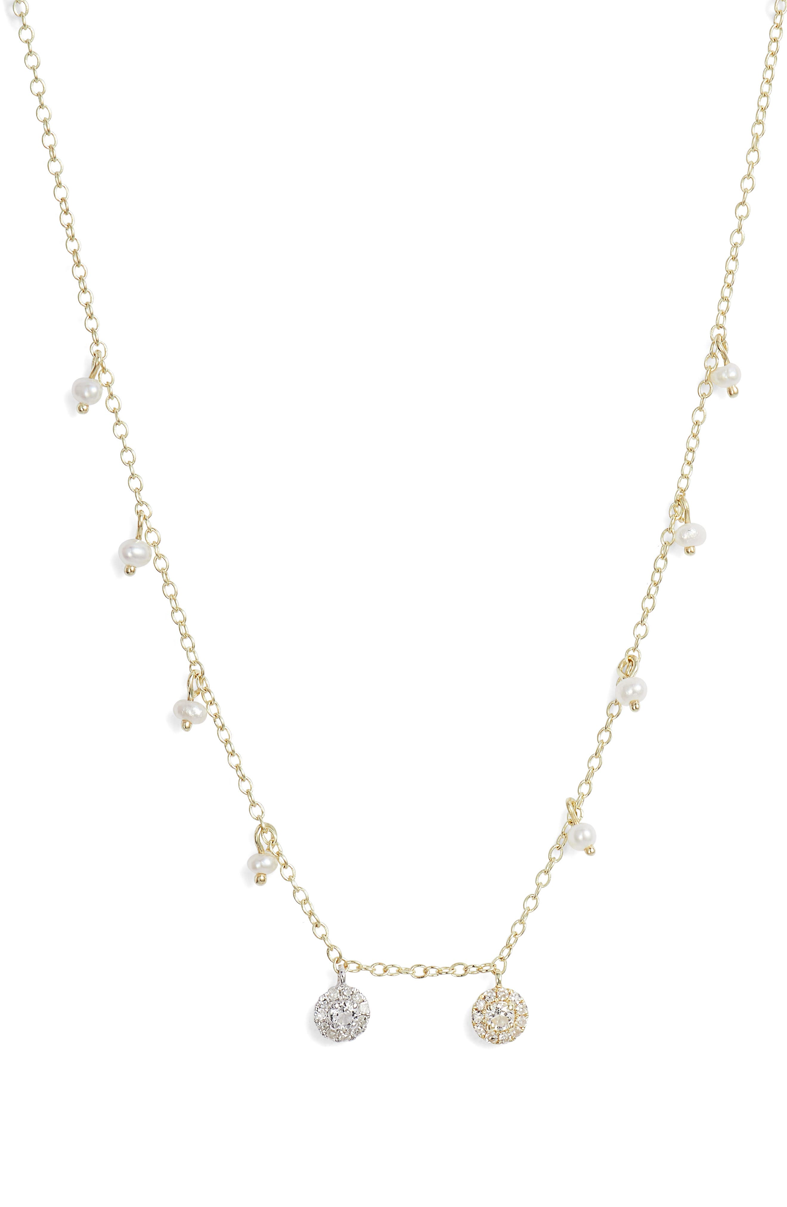 MEIRA T DOUBLE DIAMOND DISC CHARM & FRESHWATER PEARL NECKLACE