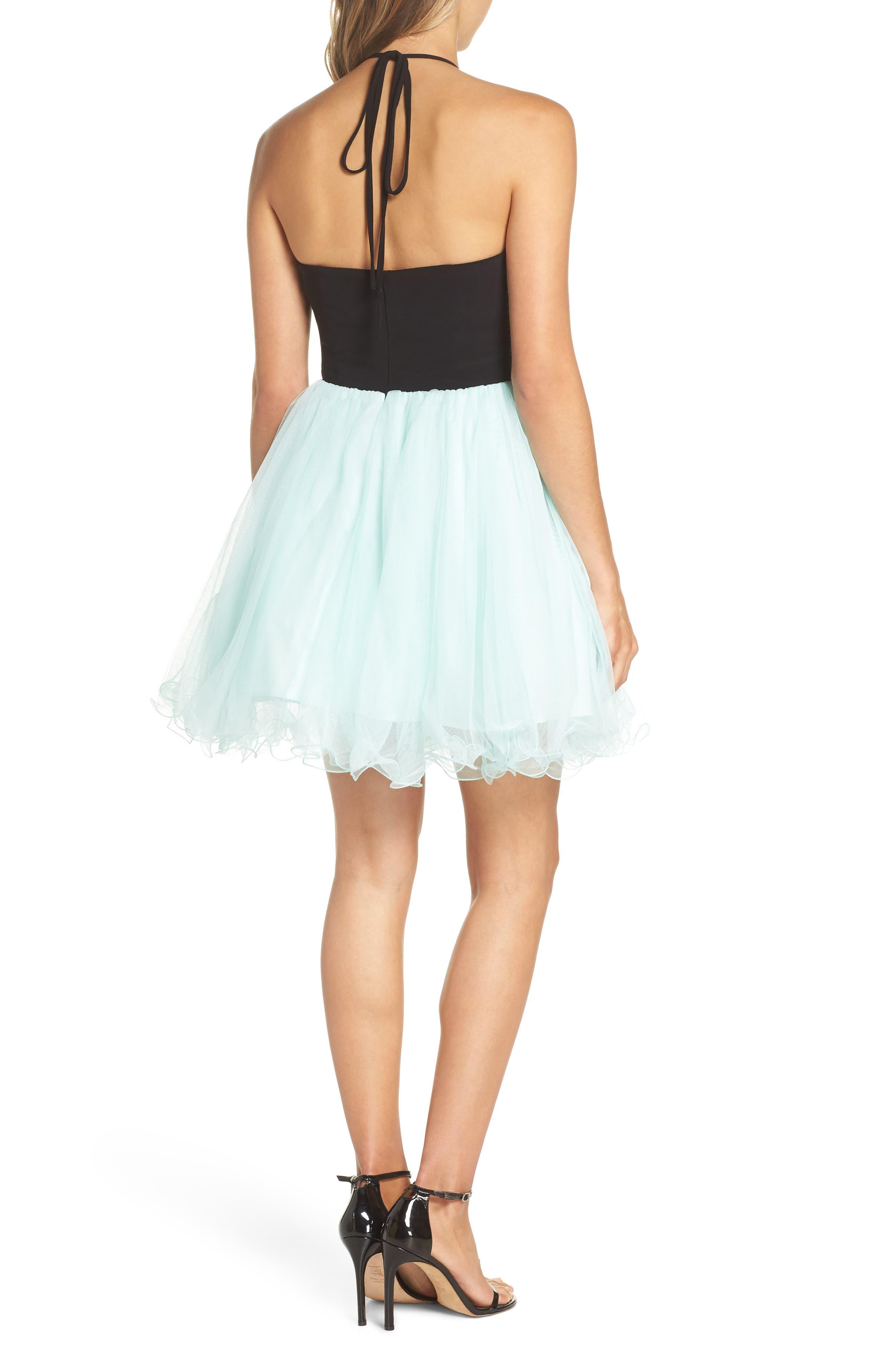 Appliqué Mesh Fit & Flare Halter Dress,                             Alternate thumbnail 2, color,                             Black/ Mint