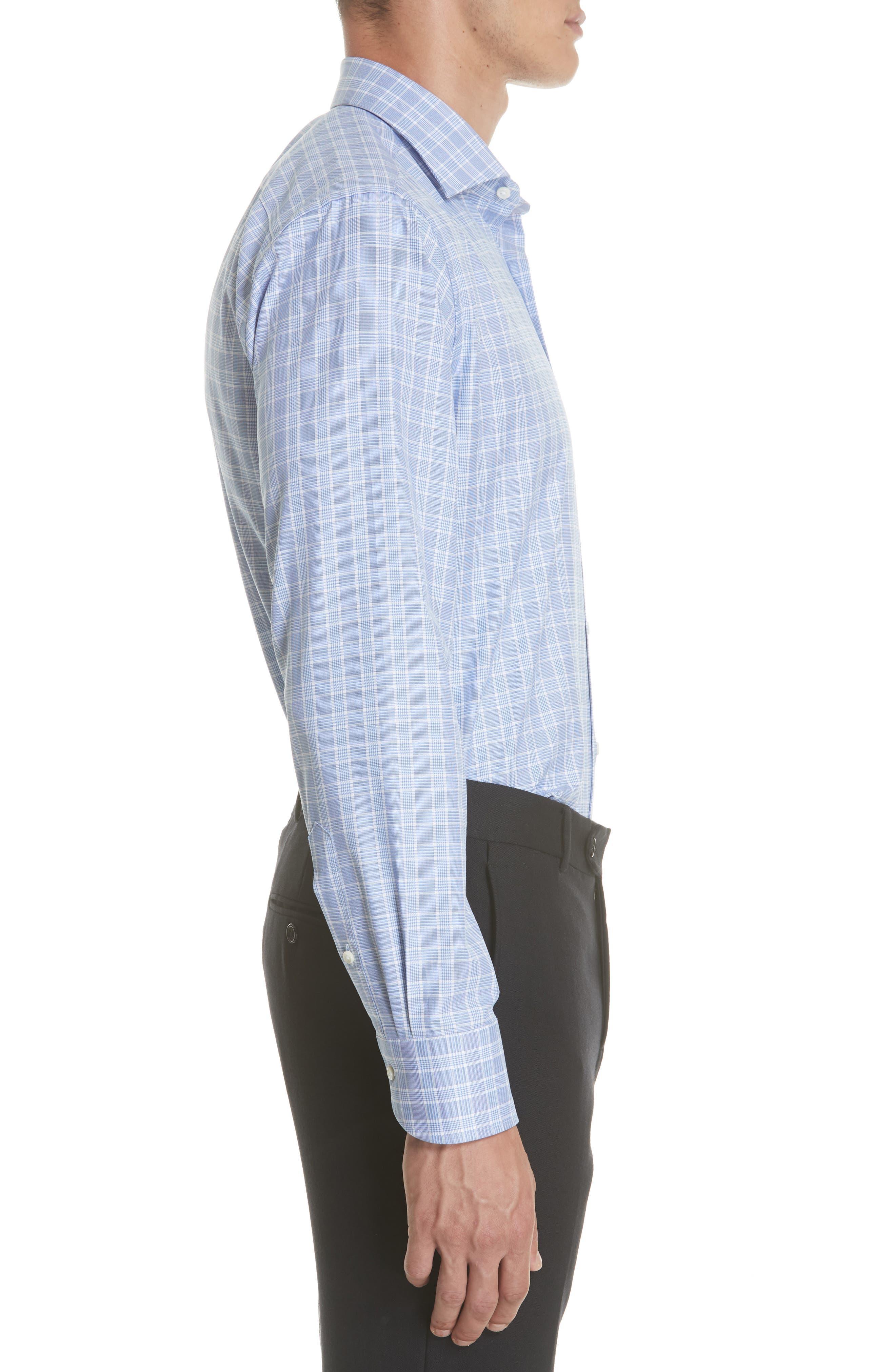 Regular Fit Check Dress Shirt,                             Alternate thumbnail 4, color,                             Brt Blue