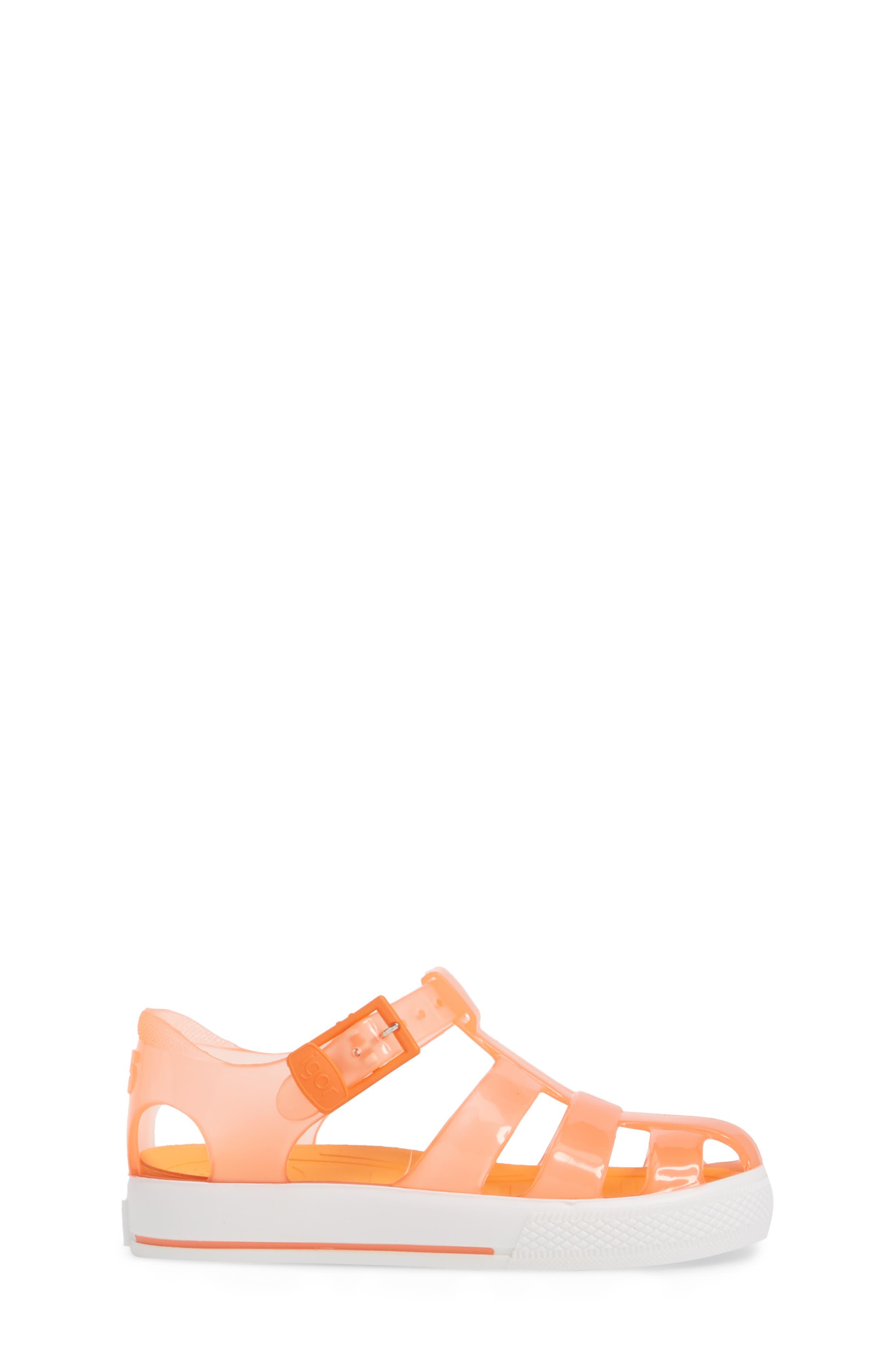 Tenis Fisherman Jelly Sandal,                             Alternate thumbnail 3, color,                             Crystal Neon Orange