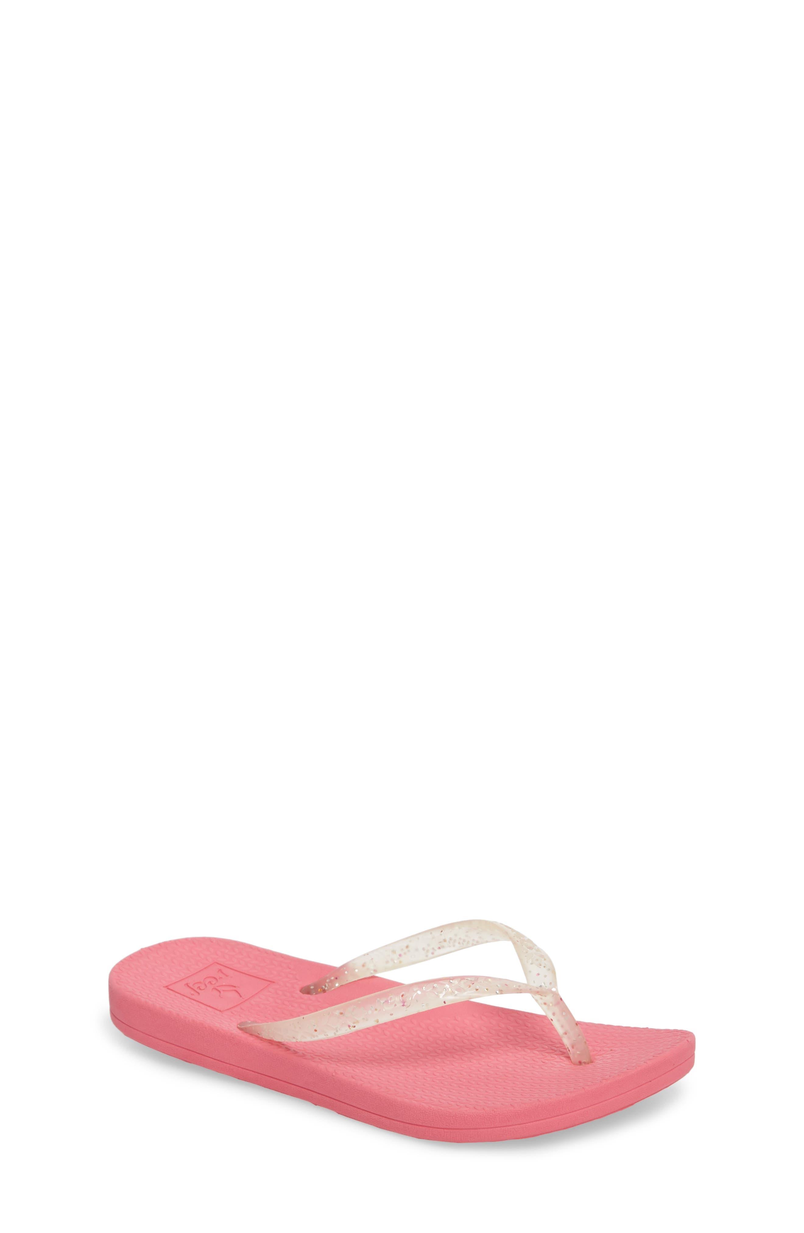Little Reef Escape Shimmer Flip Flops,                         Main,                         color, Pink
