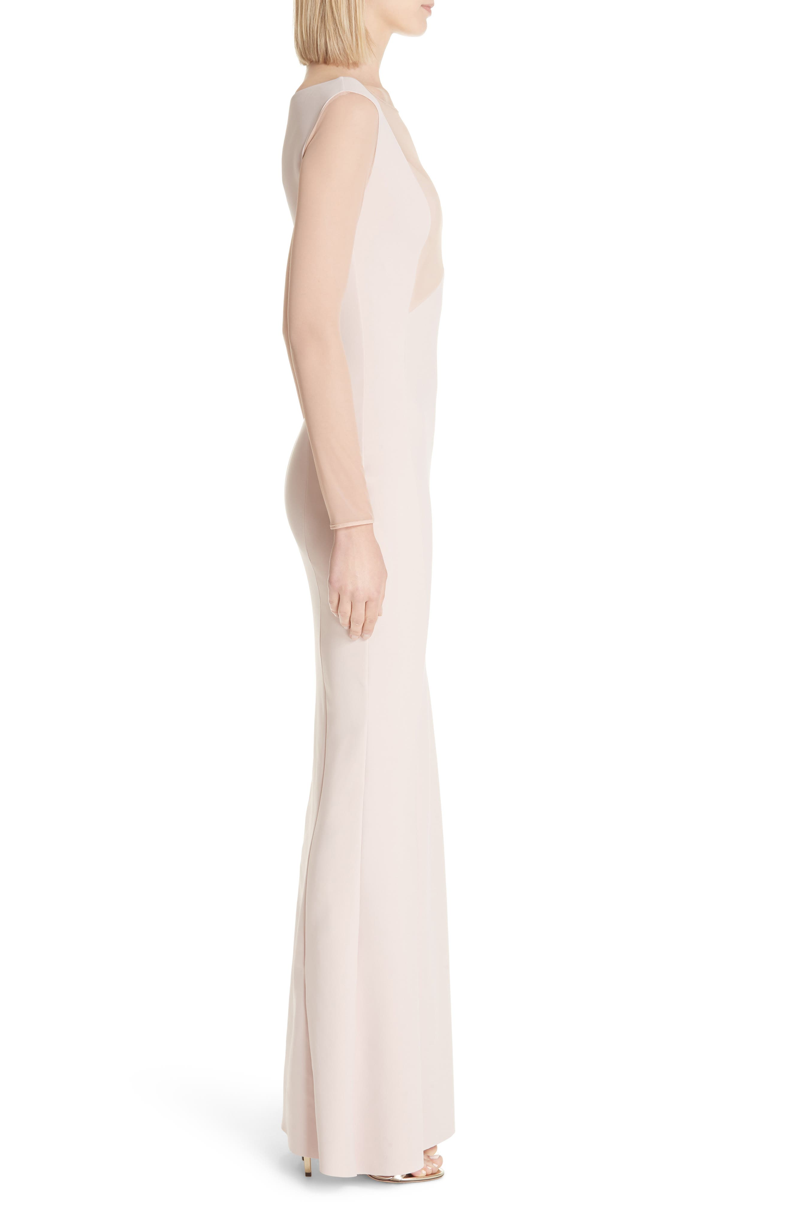 Abros Illusion Trumpet Gown,                             Alternate thumbnail 3, color,                             Nude