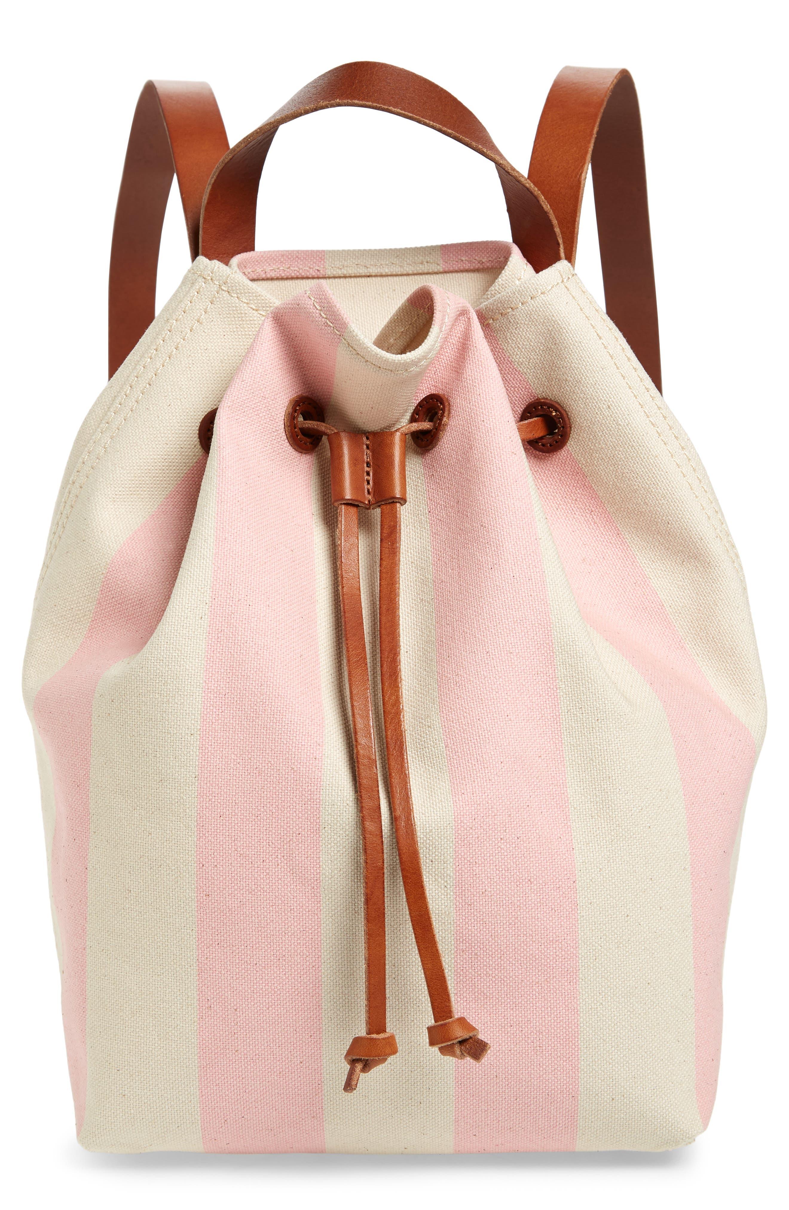 Somerset Canvas Backpack,                             Main thumbnail 1, color,                             Petal Pink Stripe