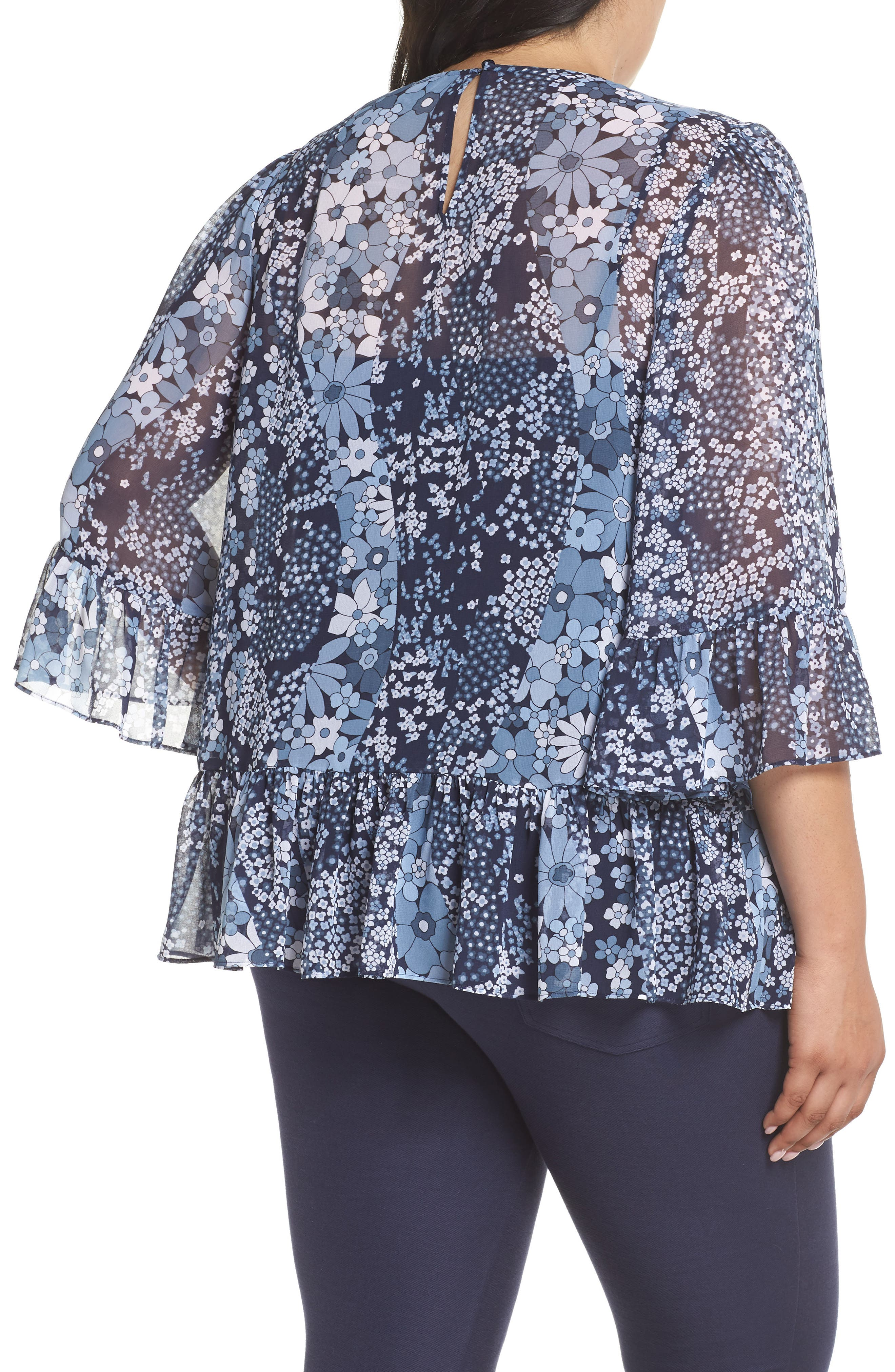 Patchwork Flowers Top,                             Alternate thumbnail 2, color,                             True Navy/ Light Chambray