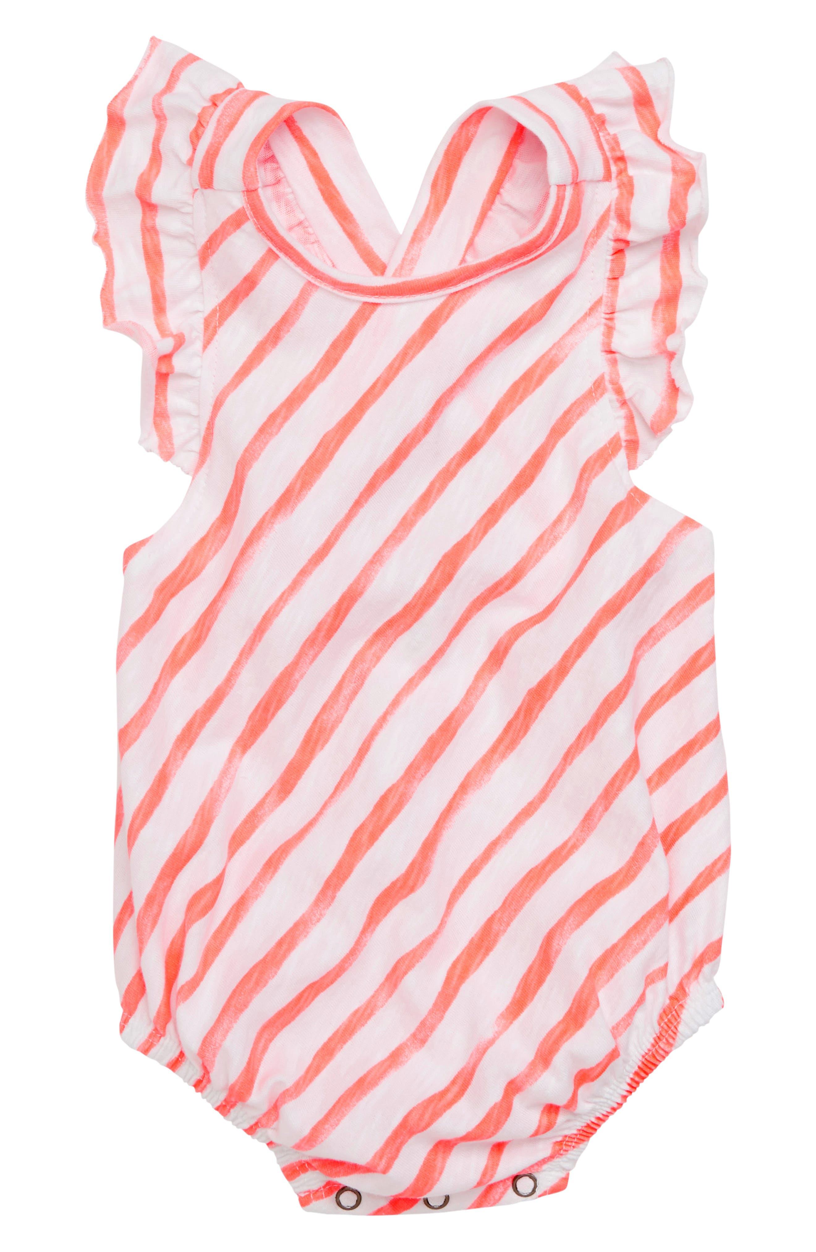 Flutter Sleeve Bodysuit,                             Main thumbnail 1, color,                             Coral Stripe