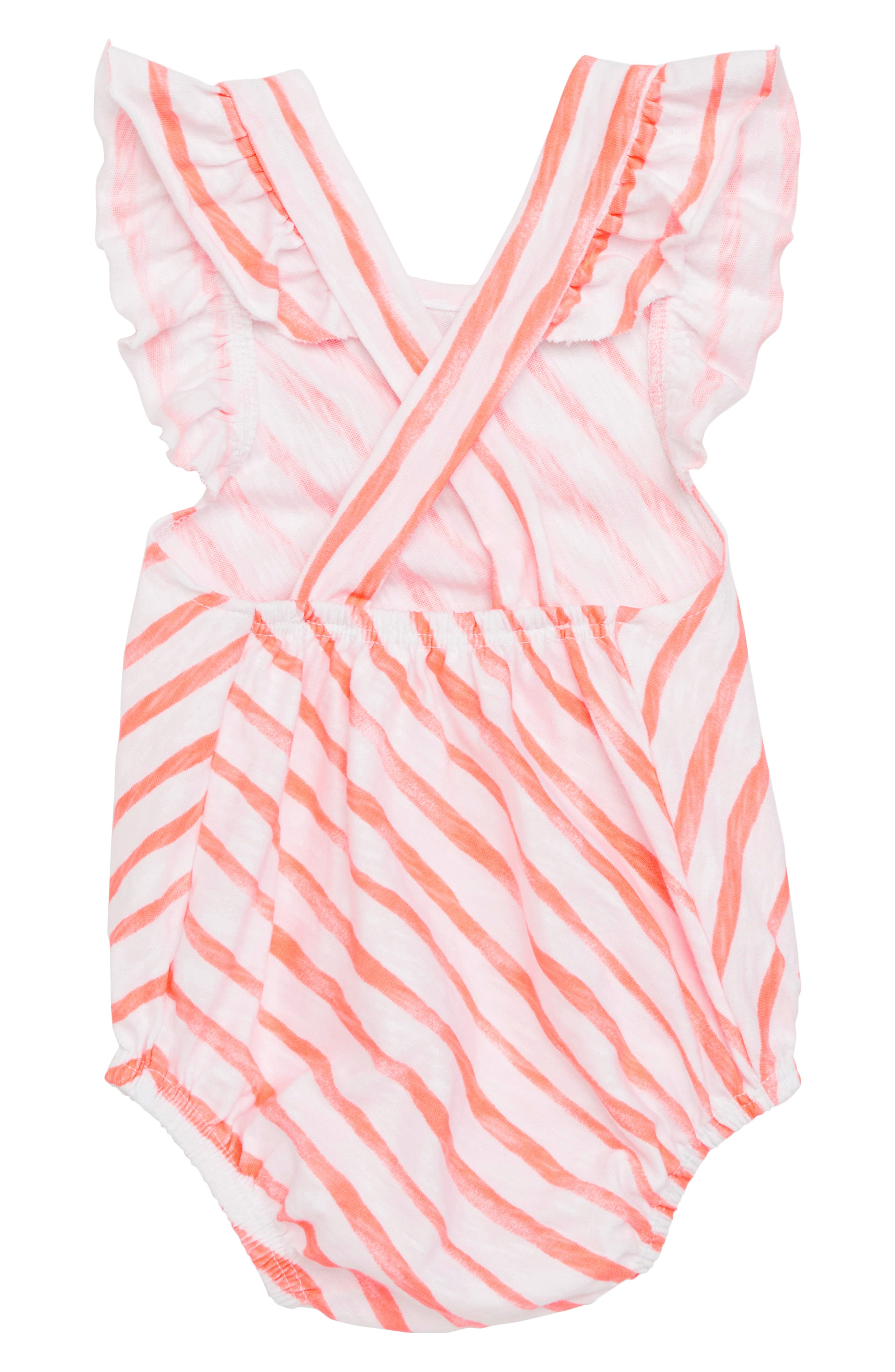 Flutter Sleeve Bodysuit,                             Alternate thumbnail 2, color,                             Coral Stripe