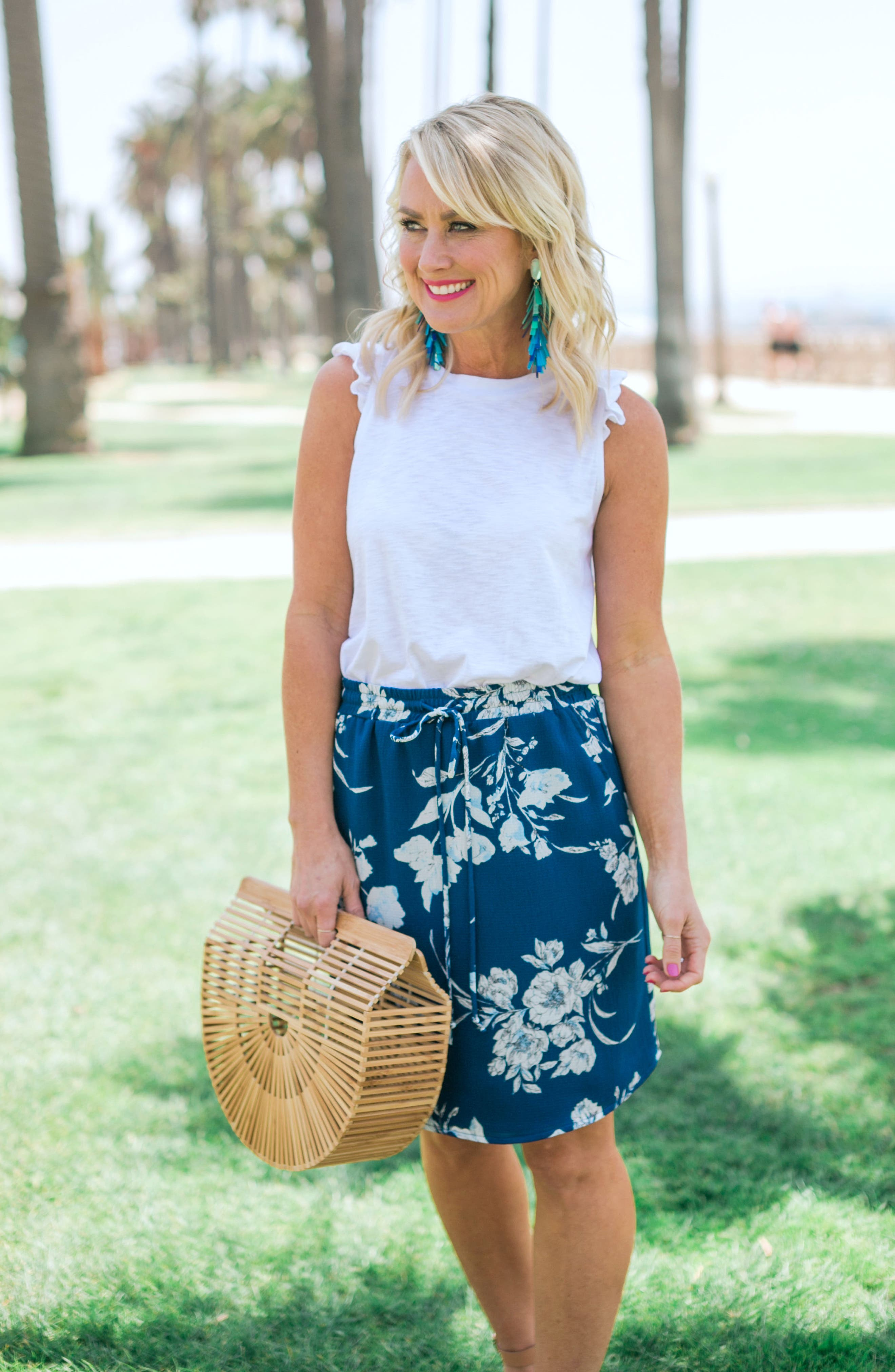 x Hi Sugarplum! Monterey Easy Skirt,                             Alternate thumbnail 2, color,                             Cool Breeze Floral