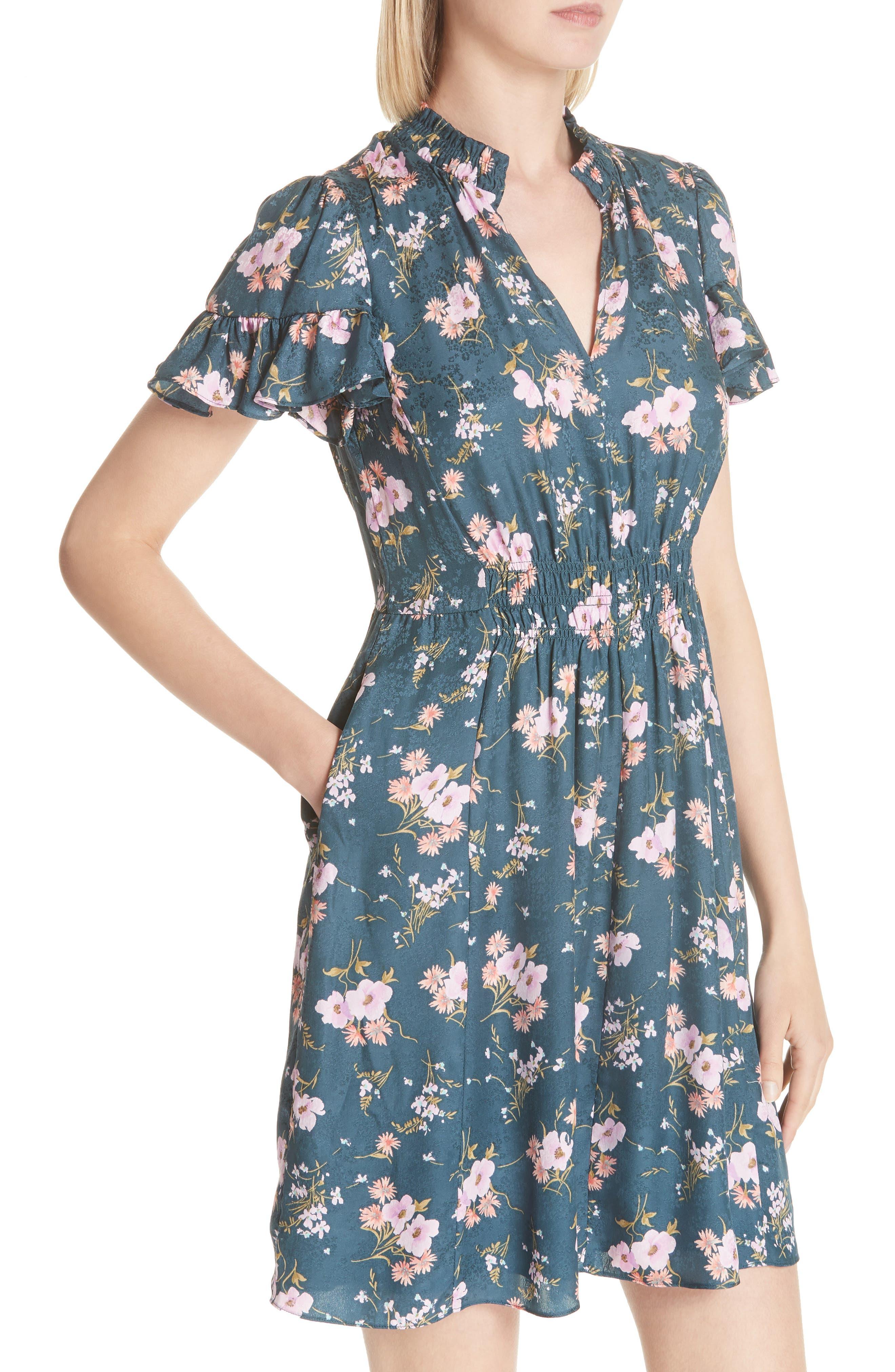 Emilia Floral Silk Jacquard Dress,                             Alternate thumbnail 4, color,                             Teal Combo