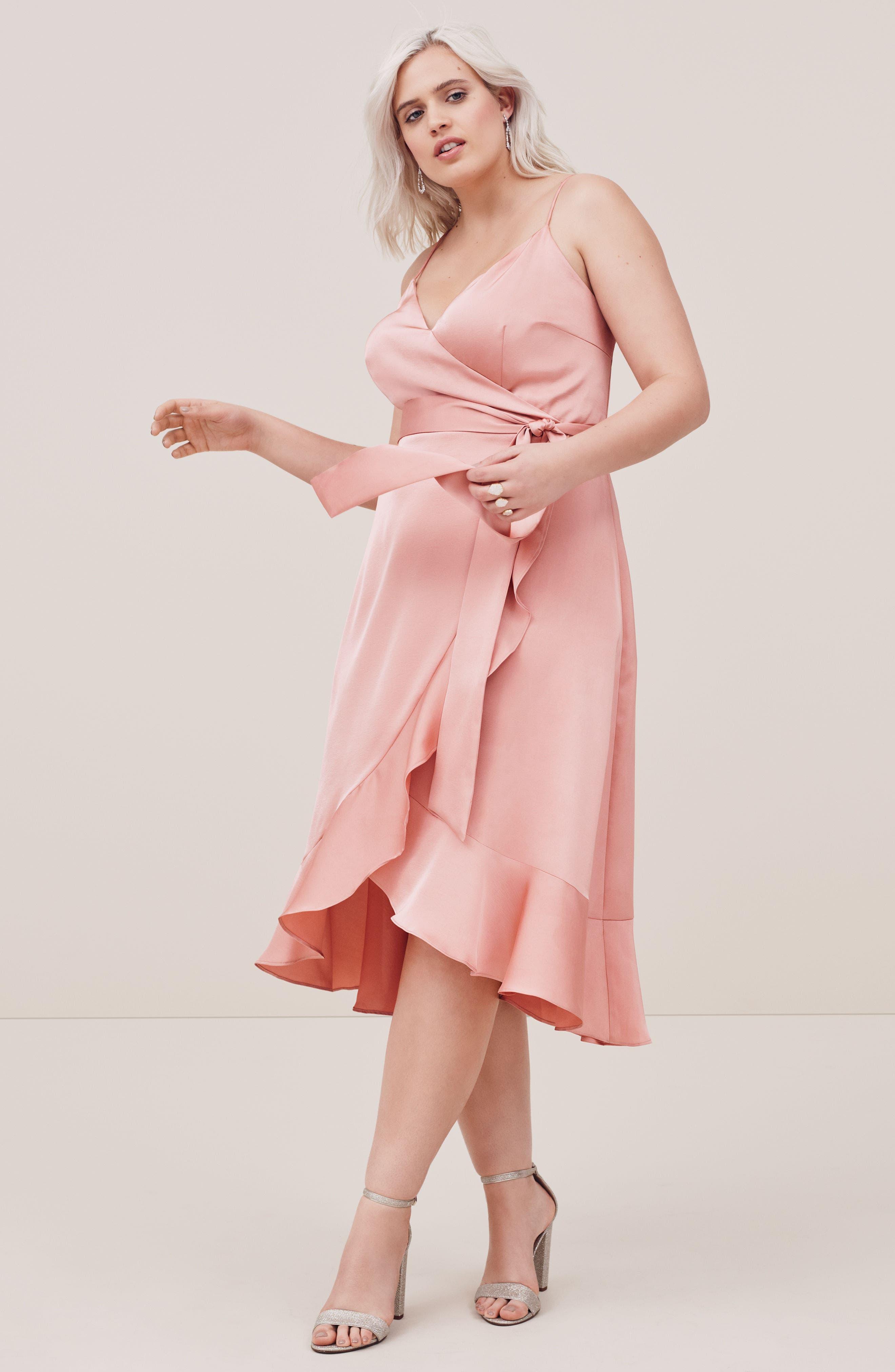 Marilyn Satin Faux Wrap Dress,                             Alternate thumbnail 3, color,                             Coral Haze