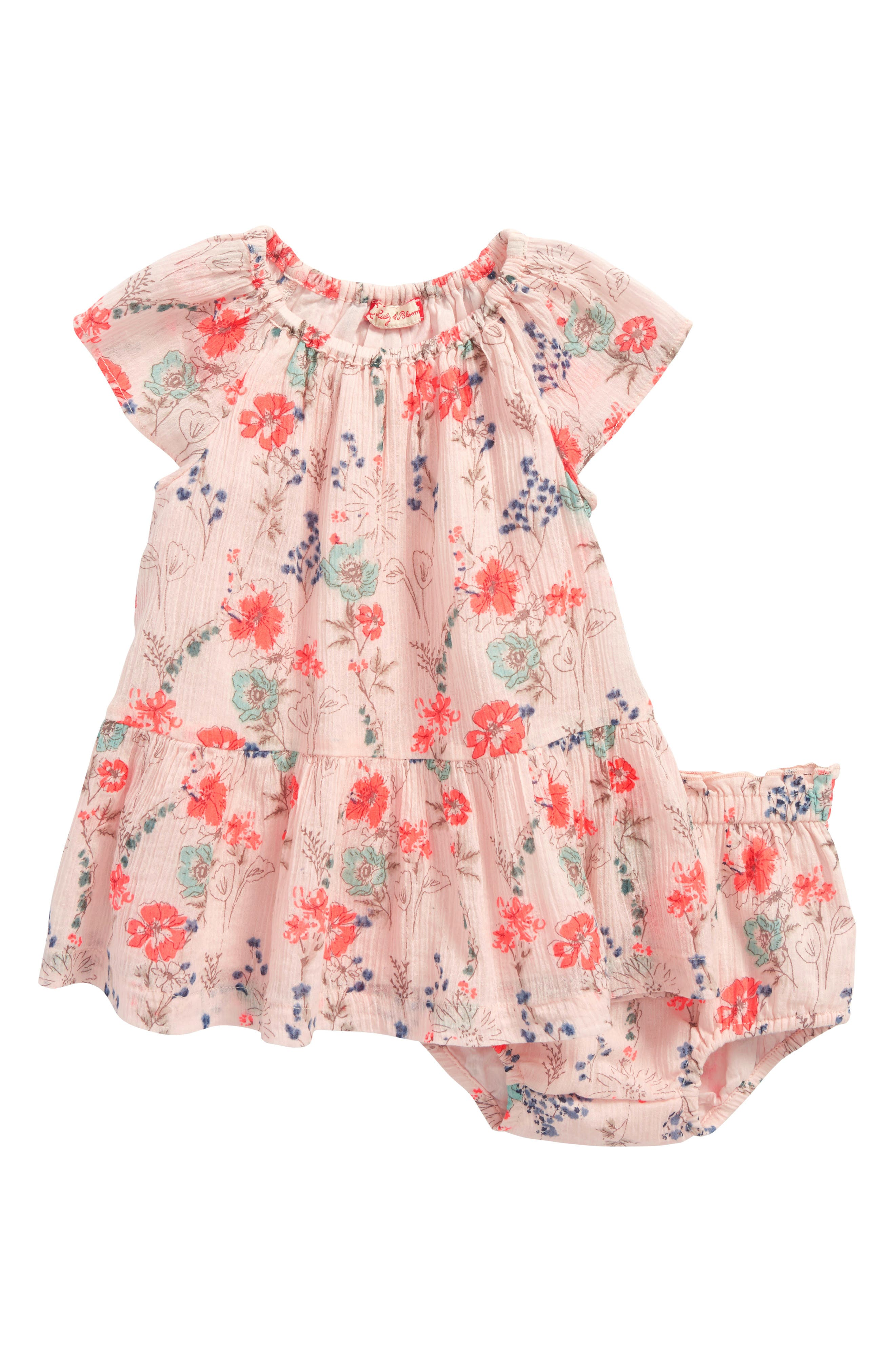 Floral Swing Dress,                         Main,                         color, Pink Peach Spaced Garden