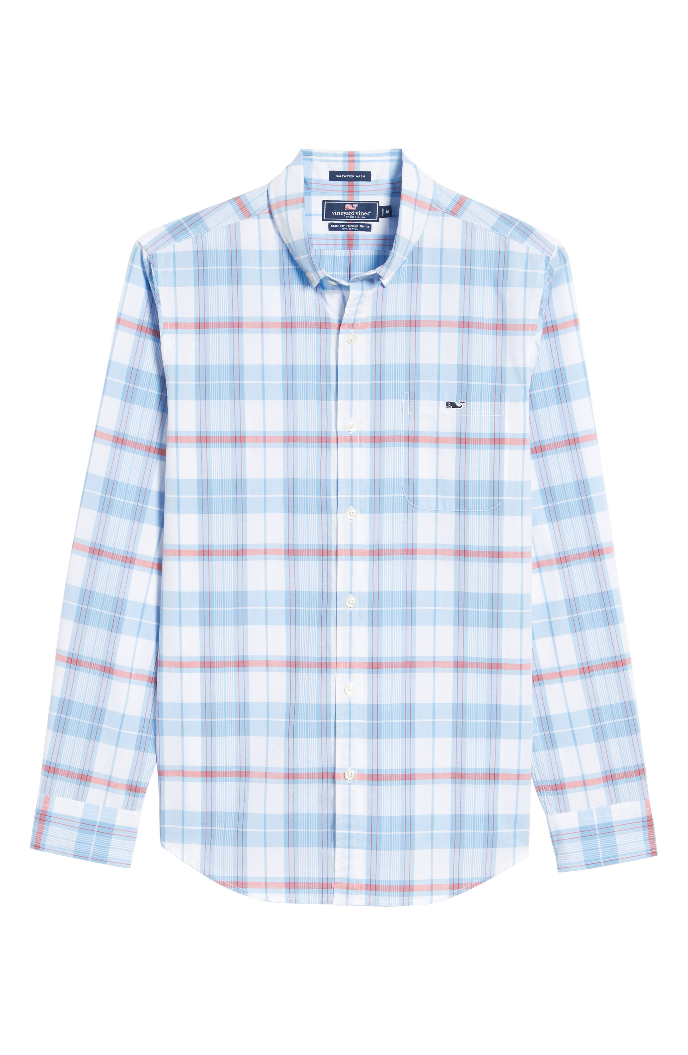 Cape Poge Tucker Slim Fit Plaid Sport Shirt,                             Alternate thumbnail 6, color,                             Dockside Blue