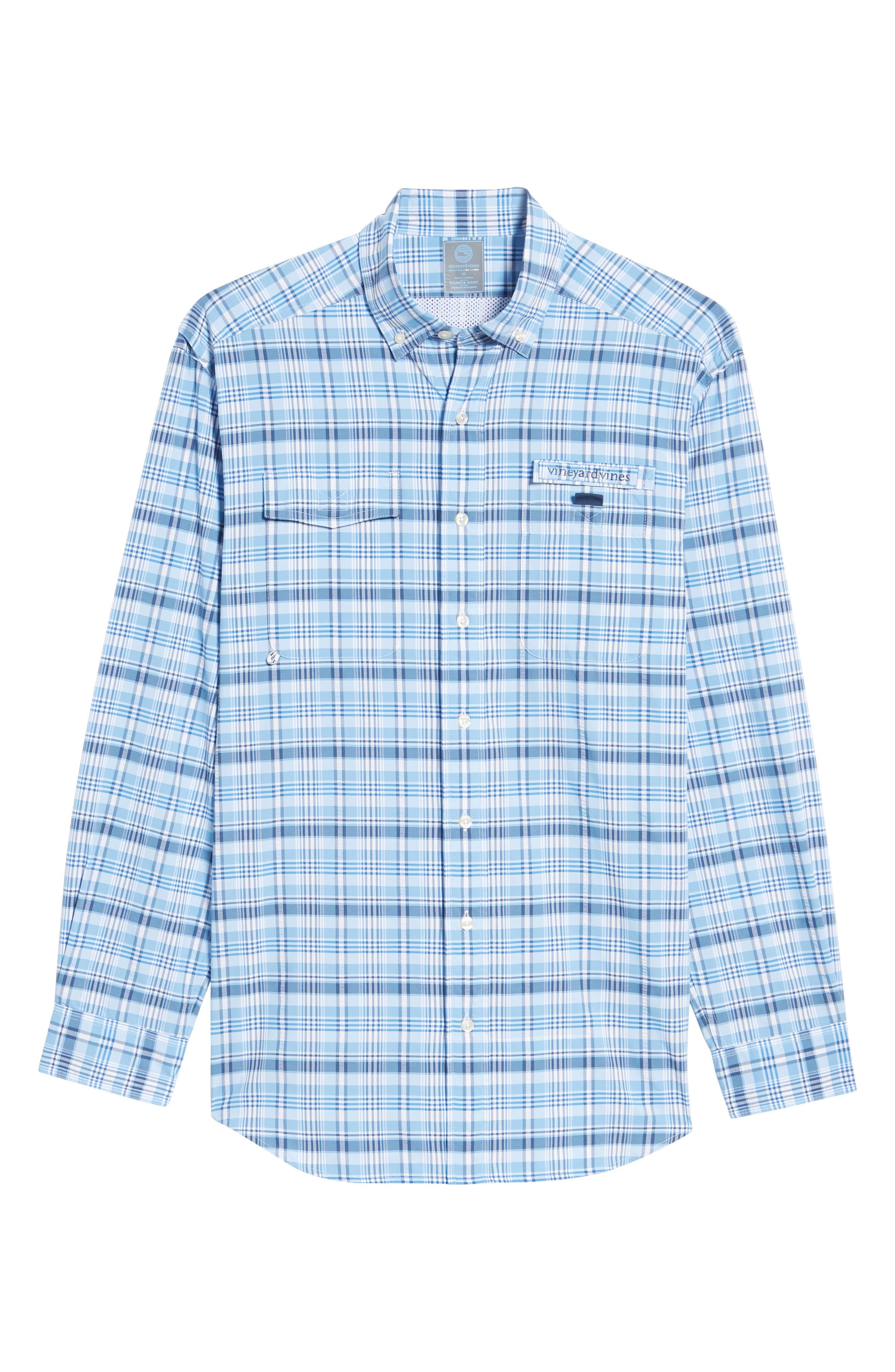 Prospect Hill Harbor Regular Fit Plaid Performance Sport Shirt,                             Alternate thumbnail 6, color,                             Ocean Breeze