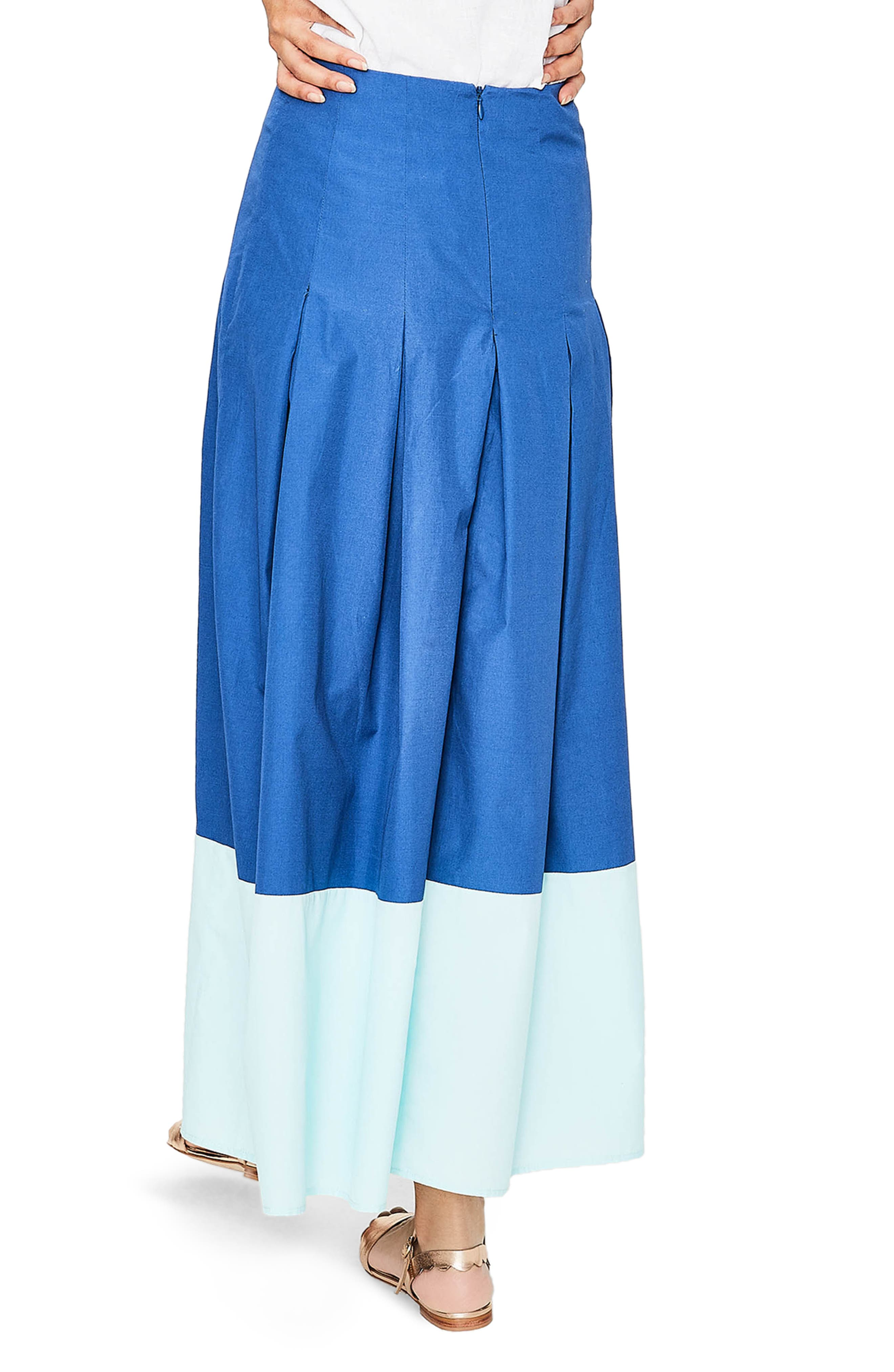 Beatrice Flare Midi Skirt,                             Alternate thumbnail 2, color,                             Riviera Blue W Rippl