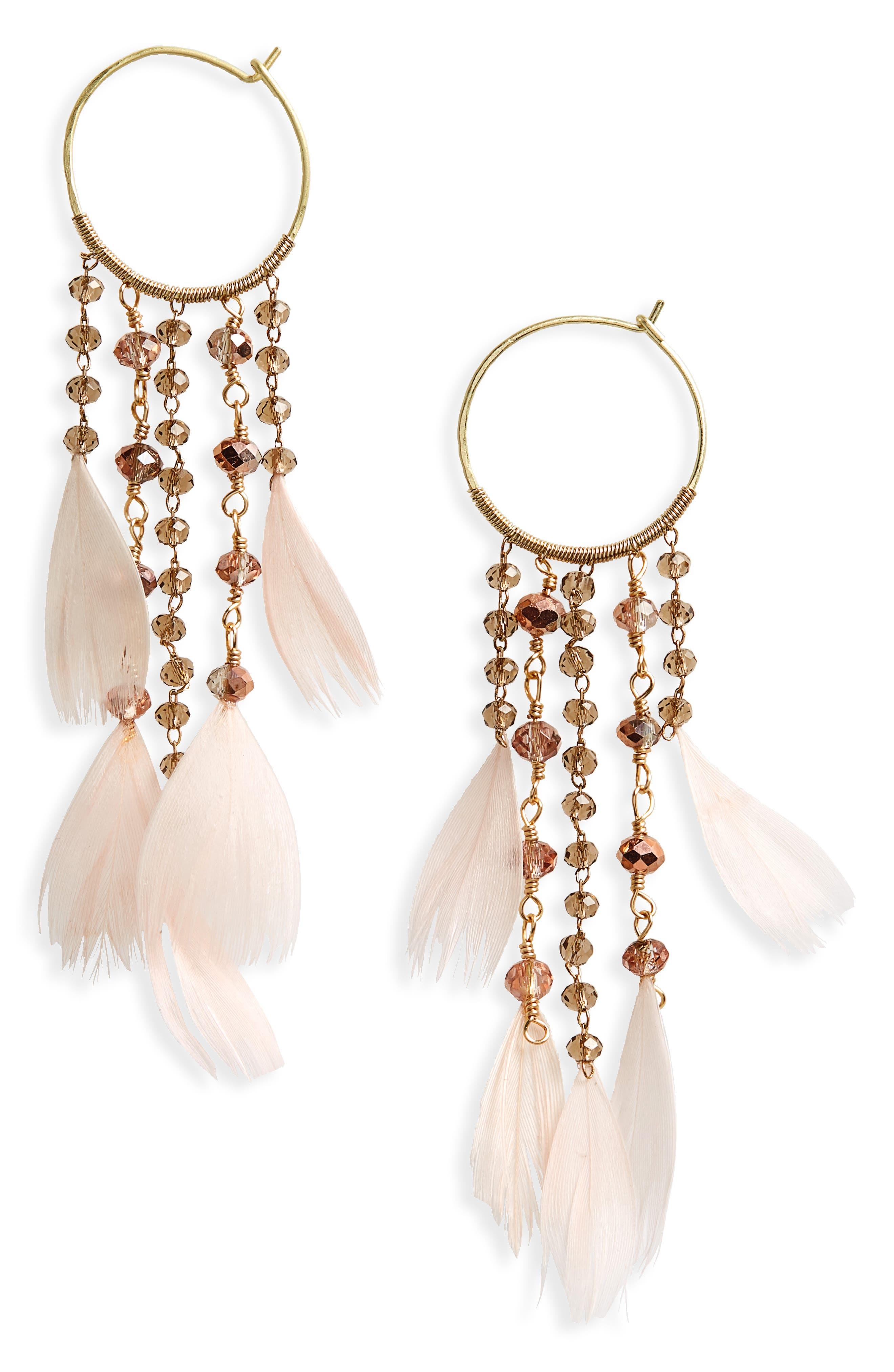 Cascading Crystal & Feather Hoop Earrings,                             Main thumbnail 1, color,                             Blush