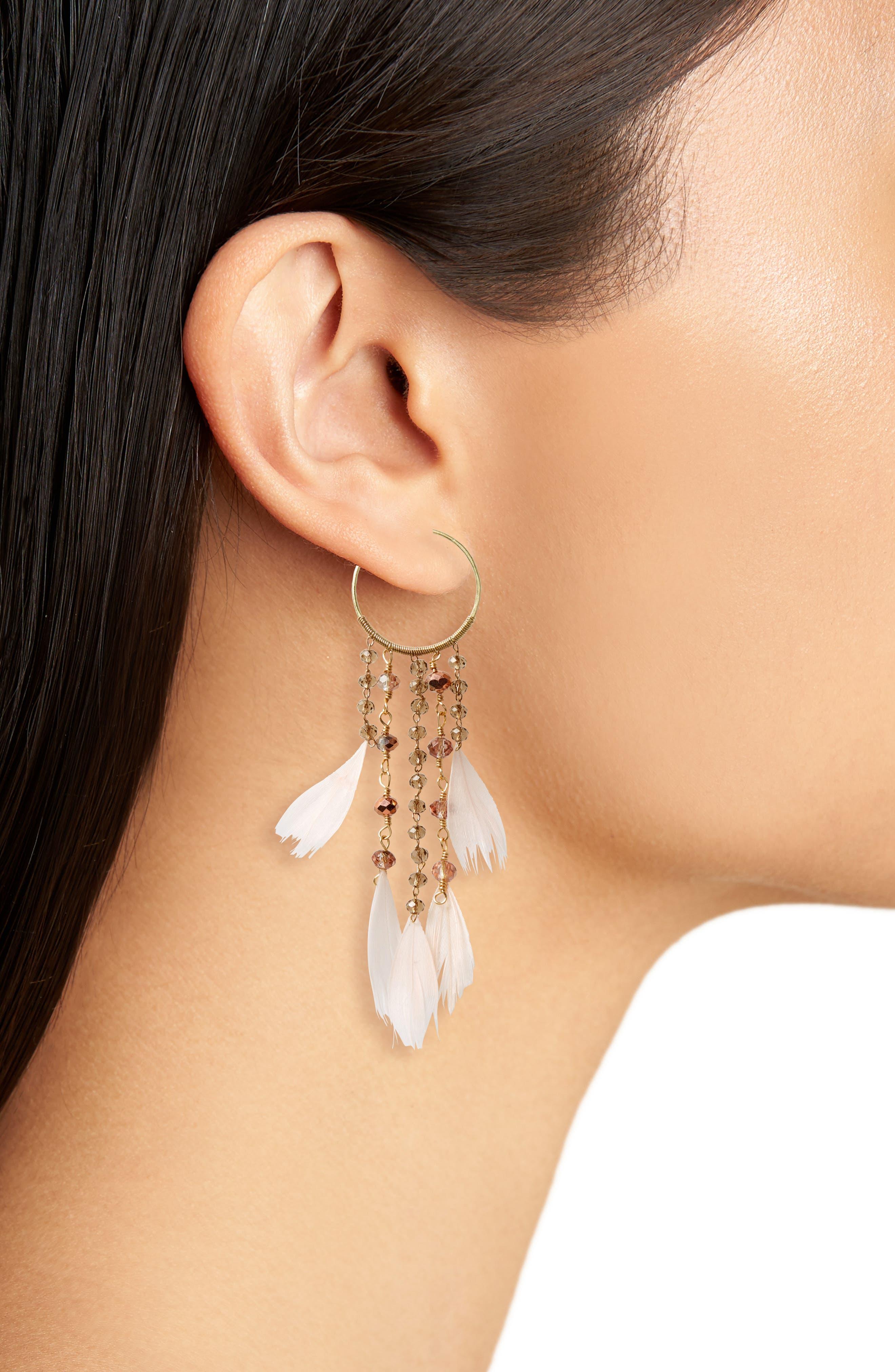 Cascading Crystal & Feather Hoop Earrings,                             Alternate thumbnail 2, color,                             Blush