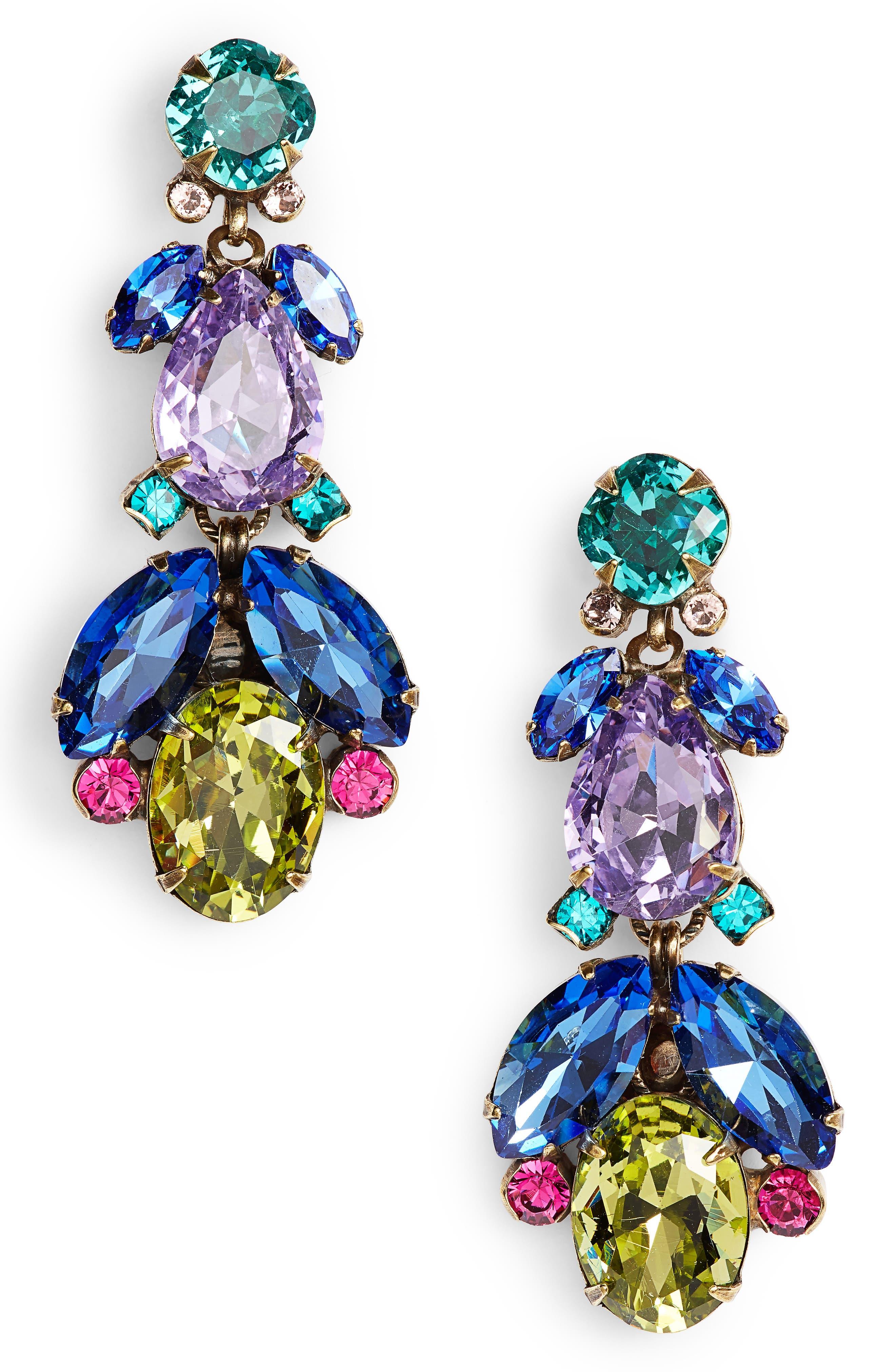 Pine Crystal Drop Earrings,                             Main thumbnail 1, color,                             Blue Multi