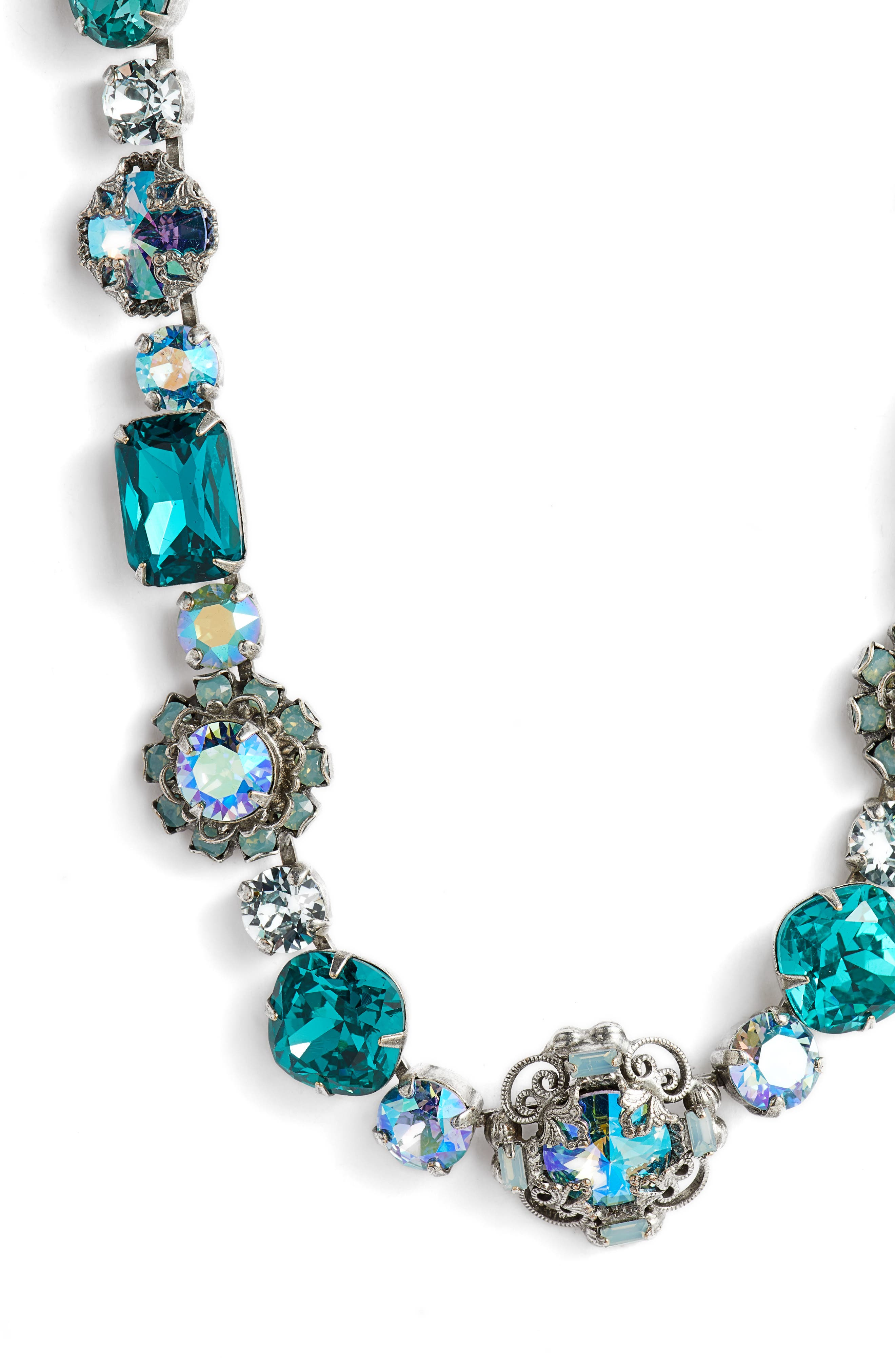 Sunflower Crystal Necklace,                             Alternate thumbnail 2, color,                             Blue-Green
