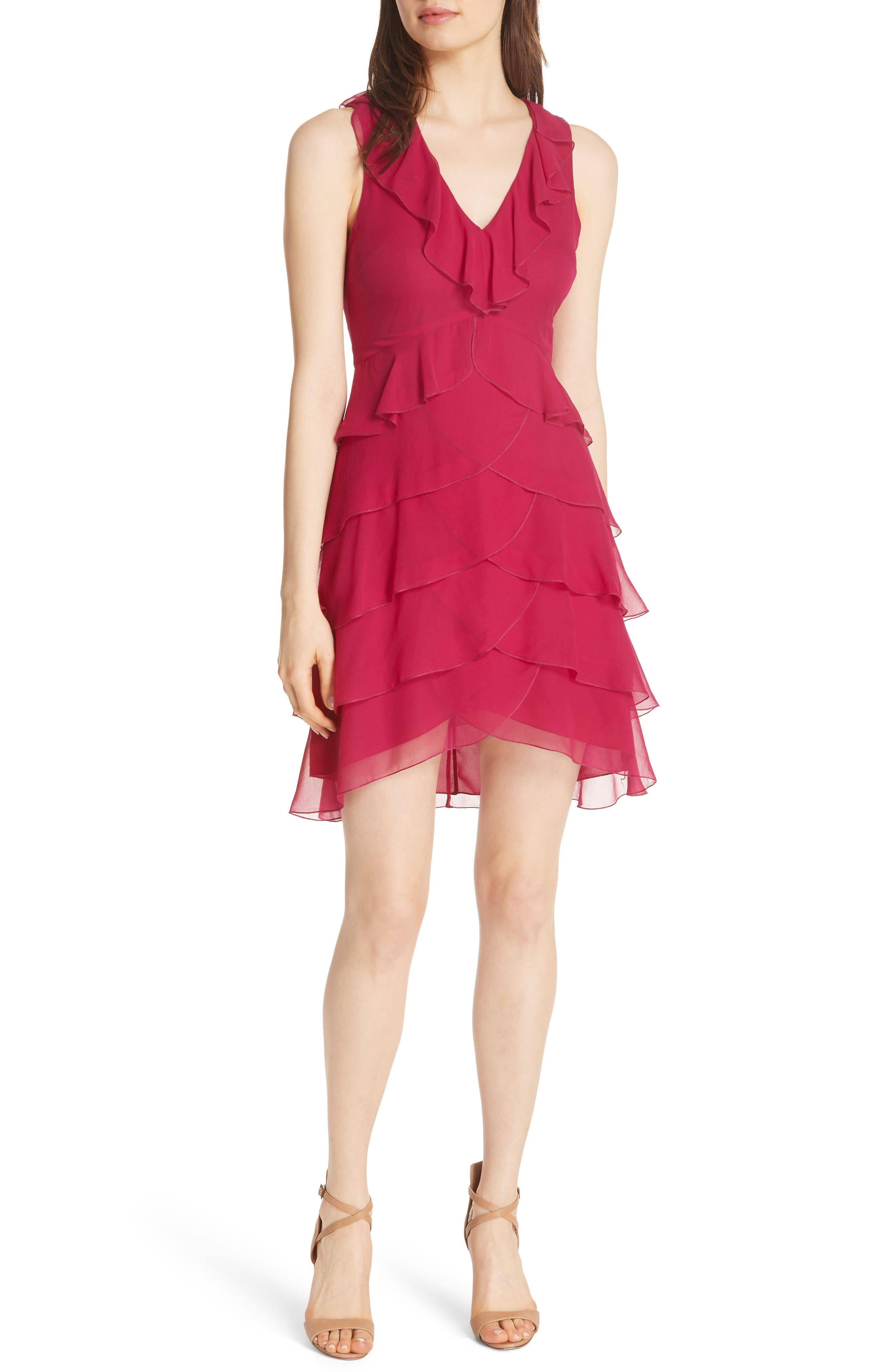 Felicita Ruffle Silk Dress,                             Main thumbnail 1, color,                             Raspberry