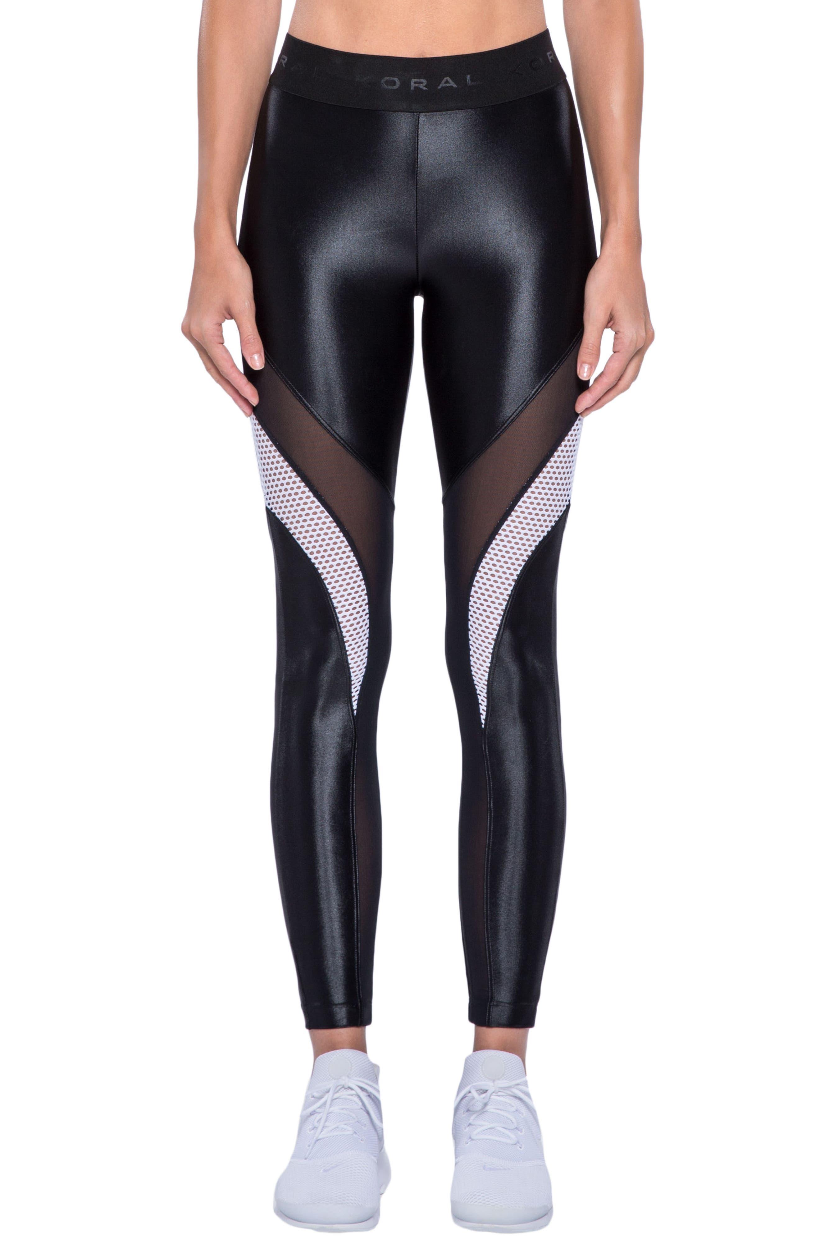 Frame Mixed Media Leggings,                         Main,                         color, Black/ White