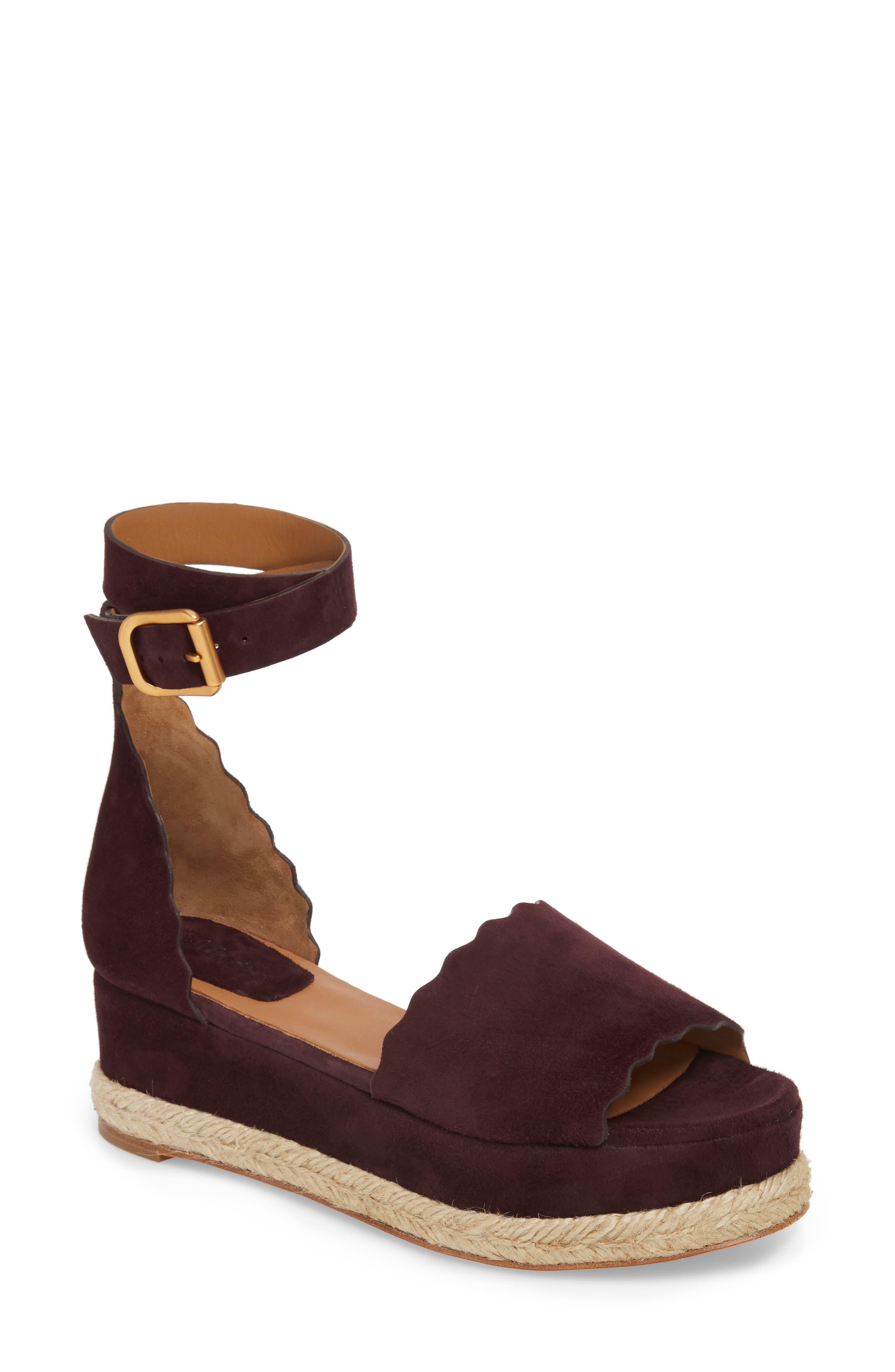 Lauren Espadrille Wedge Sandal,                             Main thumbnail 1, color,                             Dark Purple