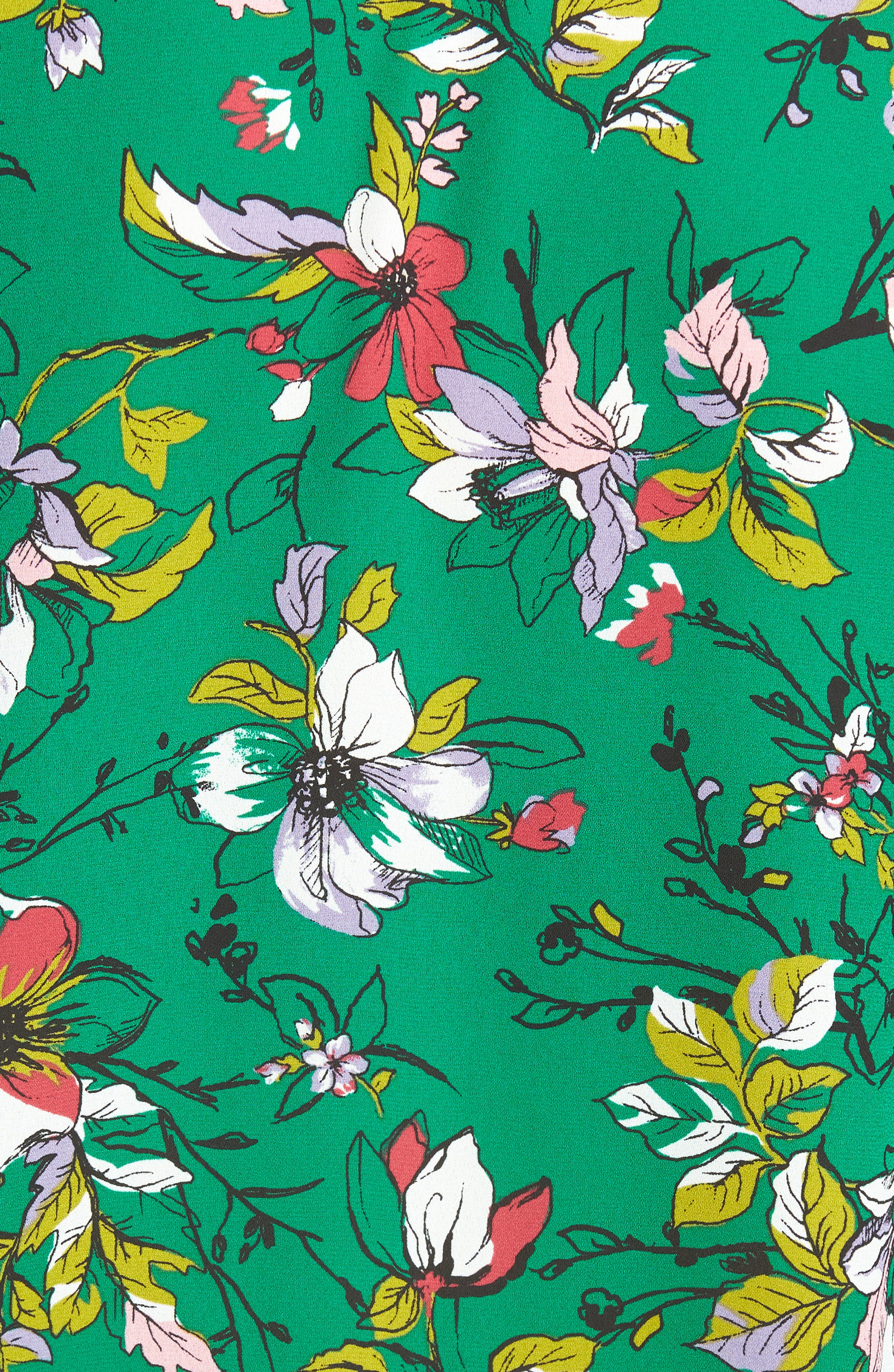 Tie Front Camp Shirt,                             Alternate thumbnail 5, color,                             Green Floral