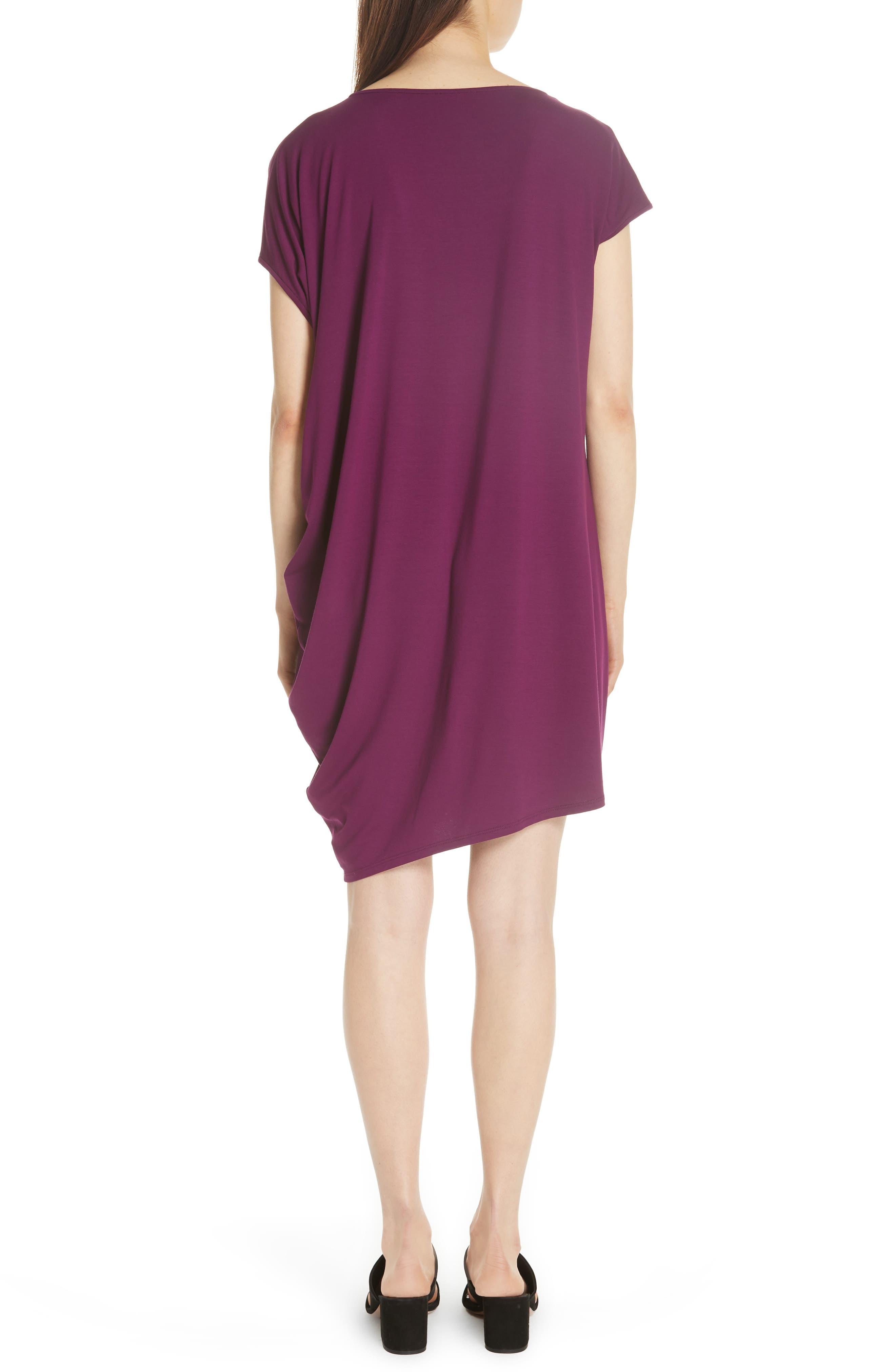 Asymmetrical Jersey Shift Dress,                             Alternate thumbnail 2, color,                             Boysenberry