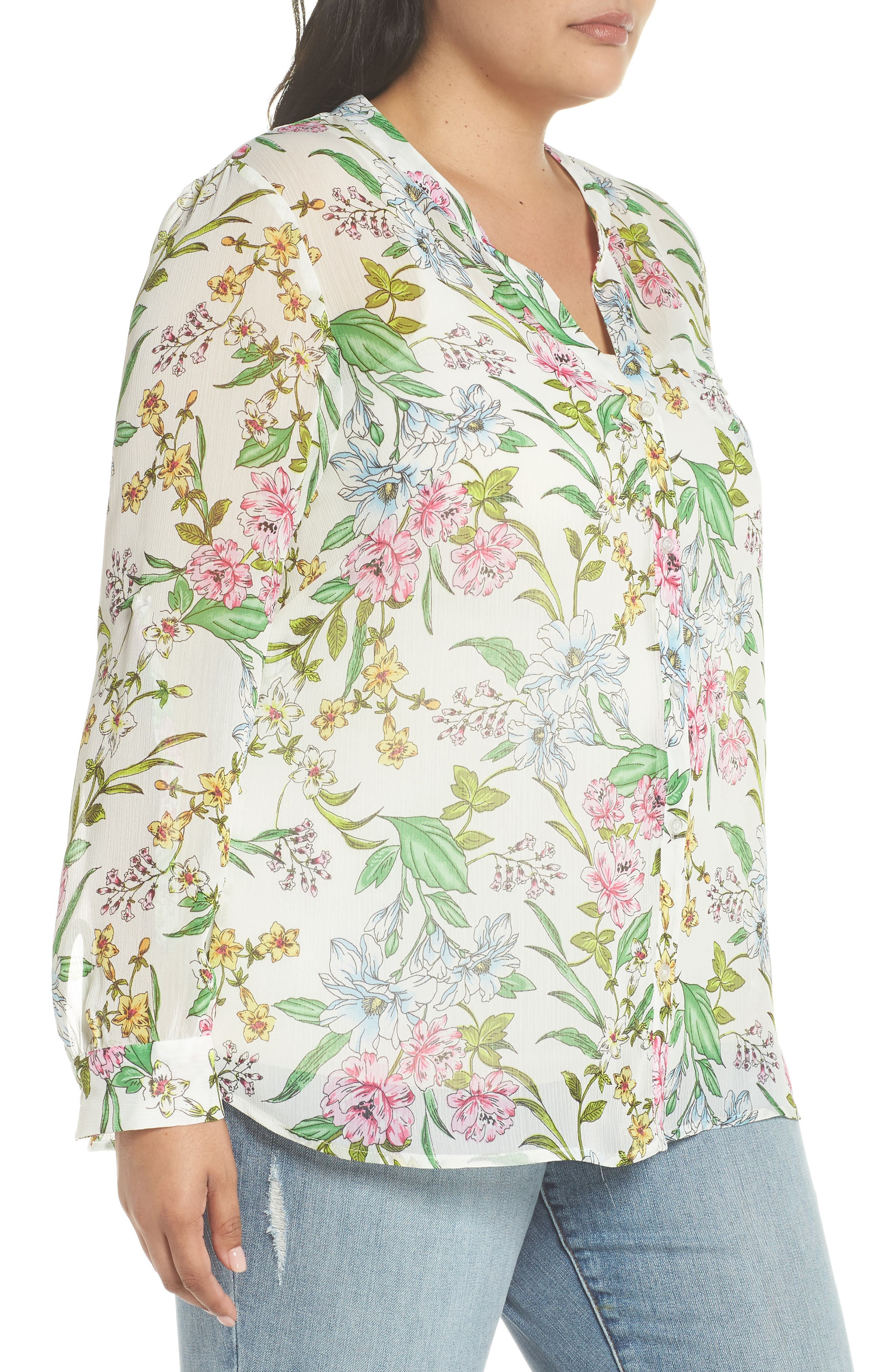 Jasmine Floral Roll Sleeve Top,                             Alternate thumbnail 3, color,                             White/ Green