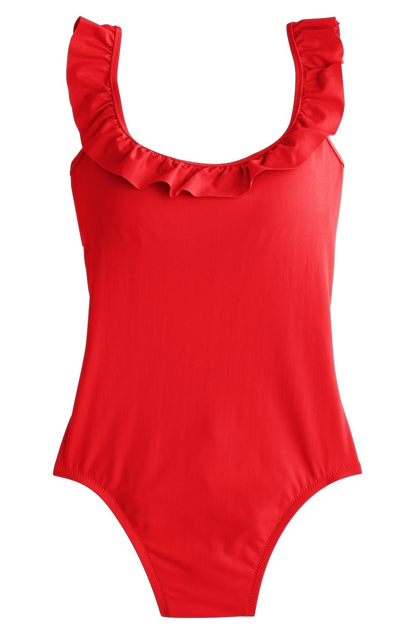 Ruffle Scoop Back One-Piece Swimsuit,                             Alternate thumbnail 4, color,                             Belvedere Red
