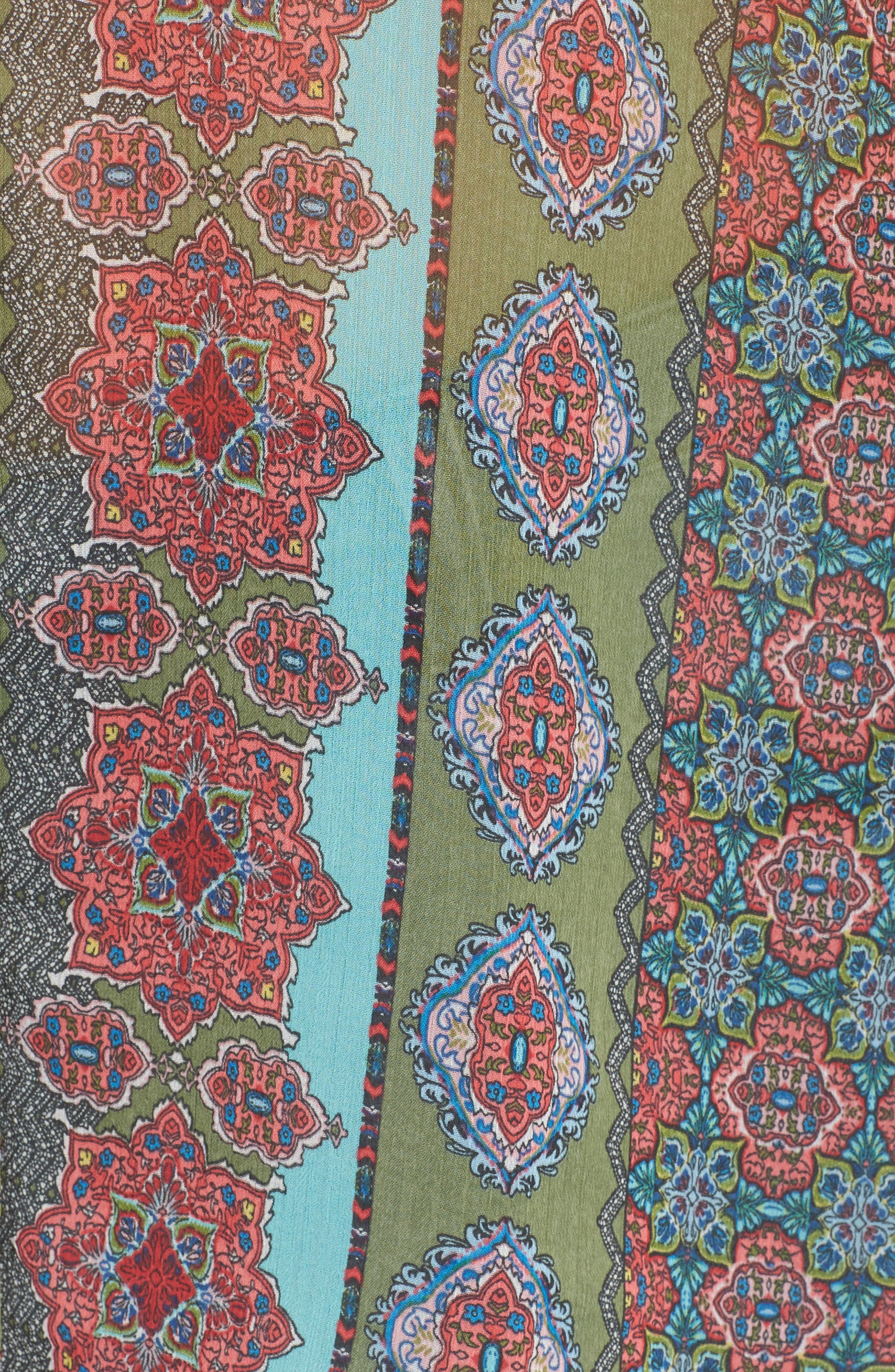 Jasmine Print Roll Sleeve Top,                             Alternate thumbnail 6, color,                             Olive/ Pink